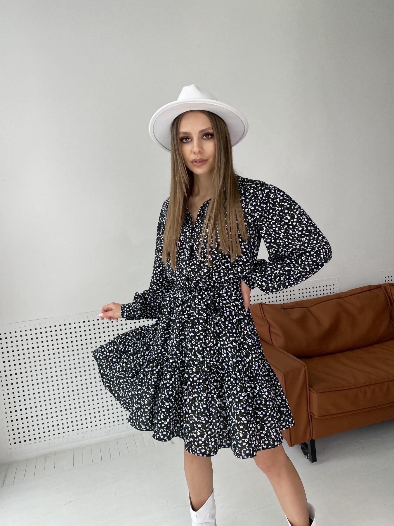 Молизе  платье штапель в мелкий цветочный принт 10948 АРТ. 47434 Цвет: Цветы мел черн/бел/гол - фото 8, интернет магазин tm-modus.ru