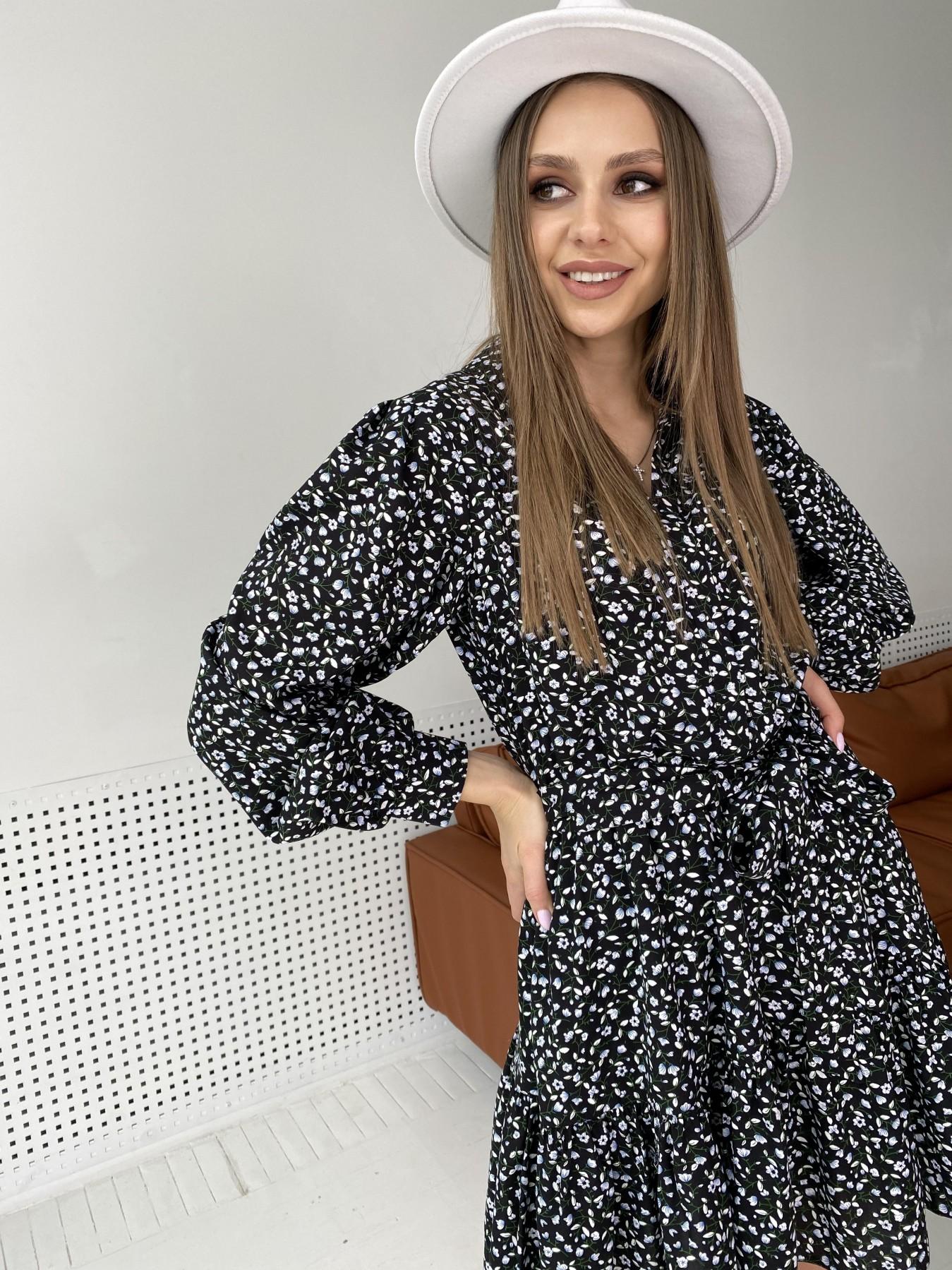 Молизе  платье штапель в мелкий цветочный принт 10948 АРТ. 47434 Цвет: Цветы мел черн/бел/гол - фото 9, интернет магазин tm-modus.ru