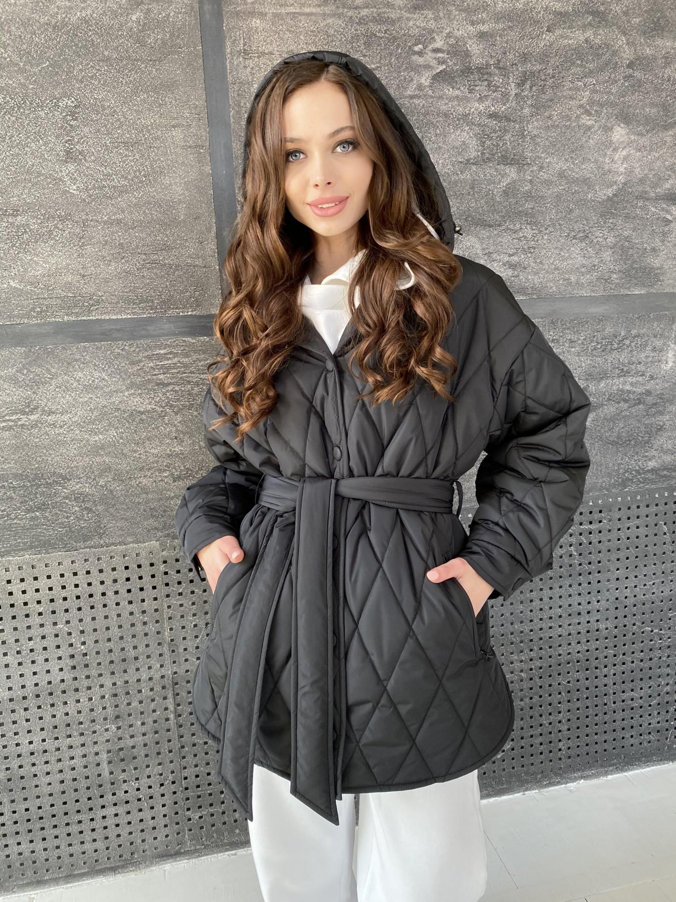 Пазл стеганая куртка из плащевки 10890 АРТ. 47425 Цвет: Черный - фото 3, интернет магазин tm-modus.ru