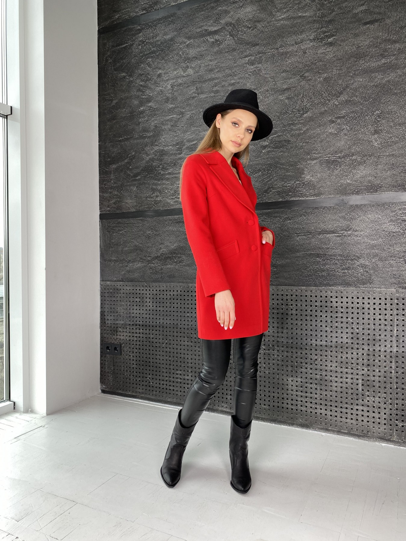 Вейсона пальто  из кашемира  10854 АРТ. 47442 Цвет: Красный - фото 4, интернет магазин tm-modus.ru