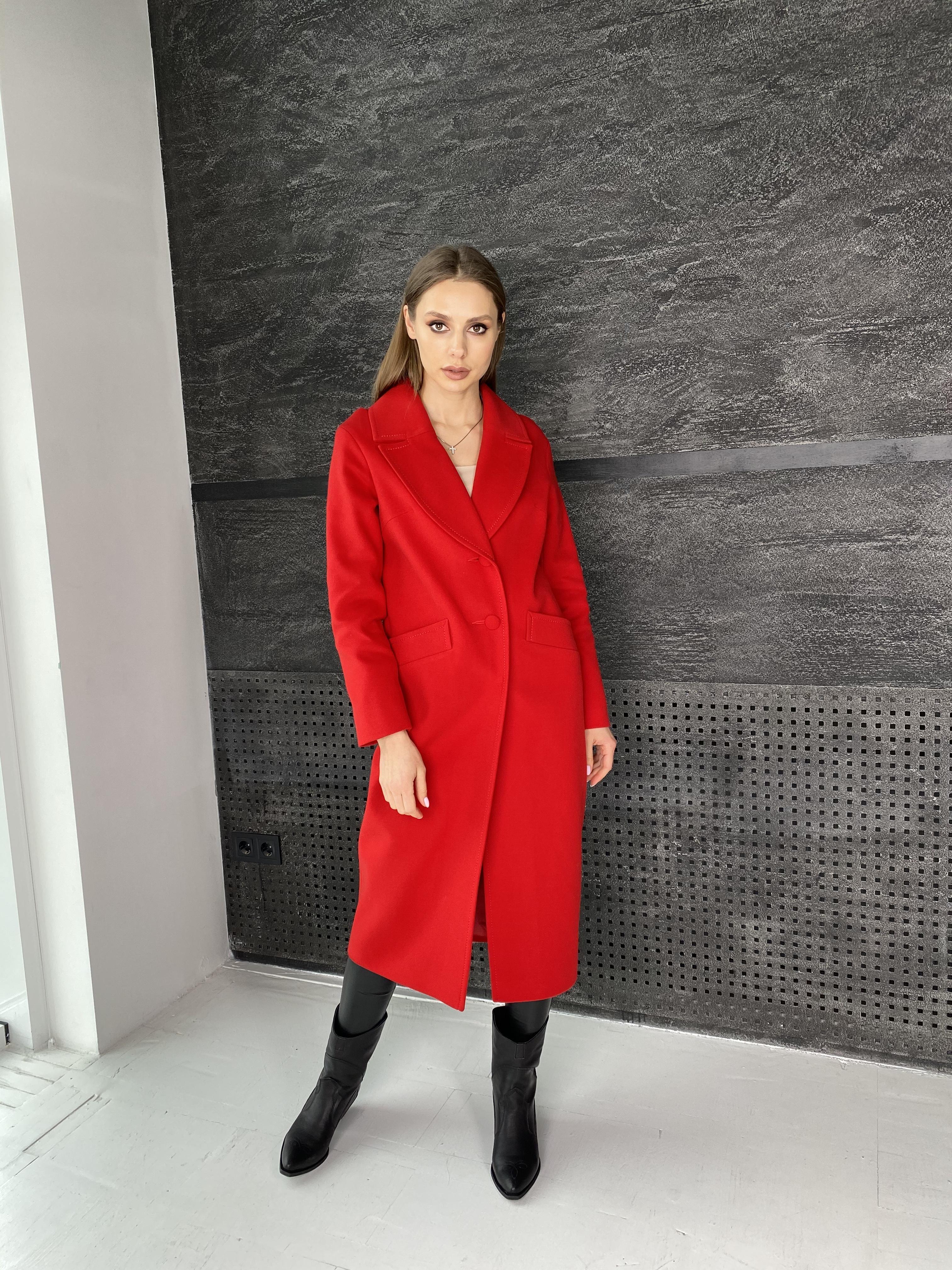 Вейсона макси пальто из кашемира 10603 АРТ. 47431 Цвет: Красный - фото 1, интернет магазин tm-modus.ru