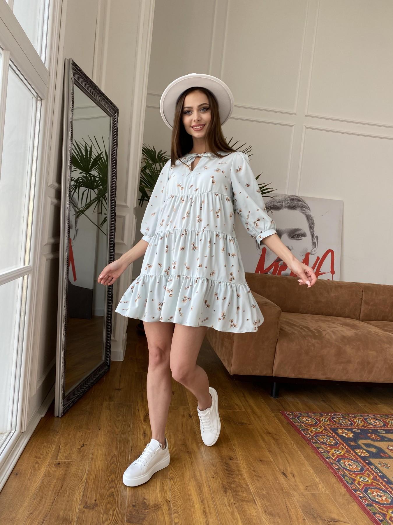 Нинель платье из софта с принтом 11114 АРТ. 47603 Цвет: МятаСв/БежЦветокМел - фото 1, интернет магазин tm-modus.ru