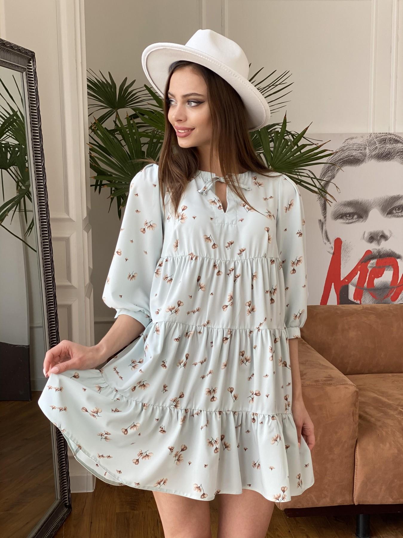 Нинель платье из софта с принтом 11114 АРТ. 47603 Цвет: МятаСв/БежЦветокМел - фото 2, интернет магазин tm-modus.ru