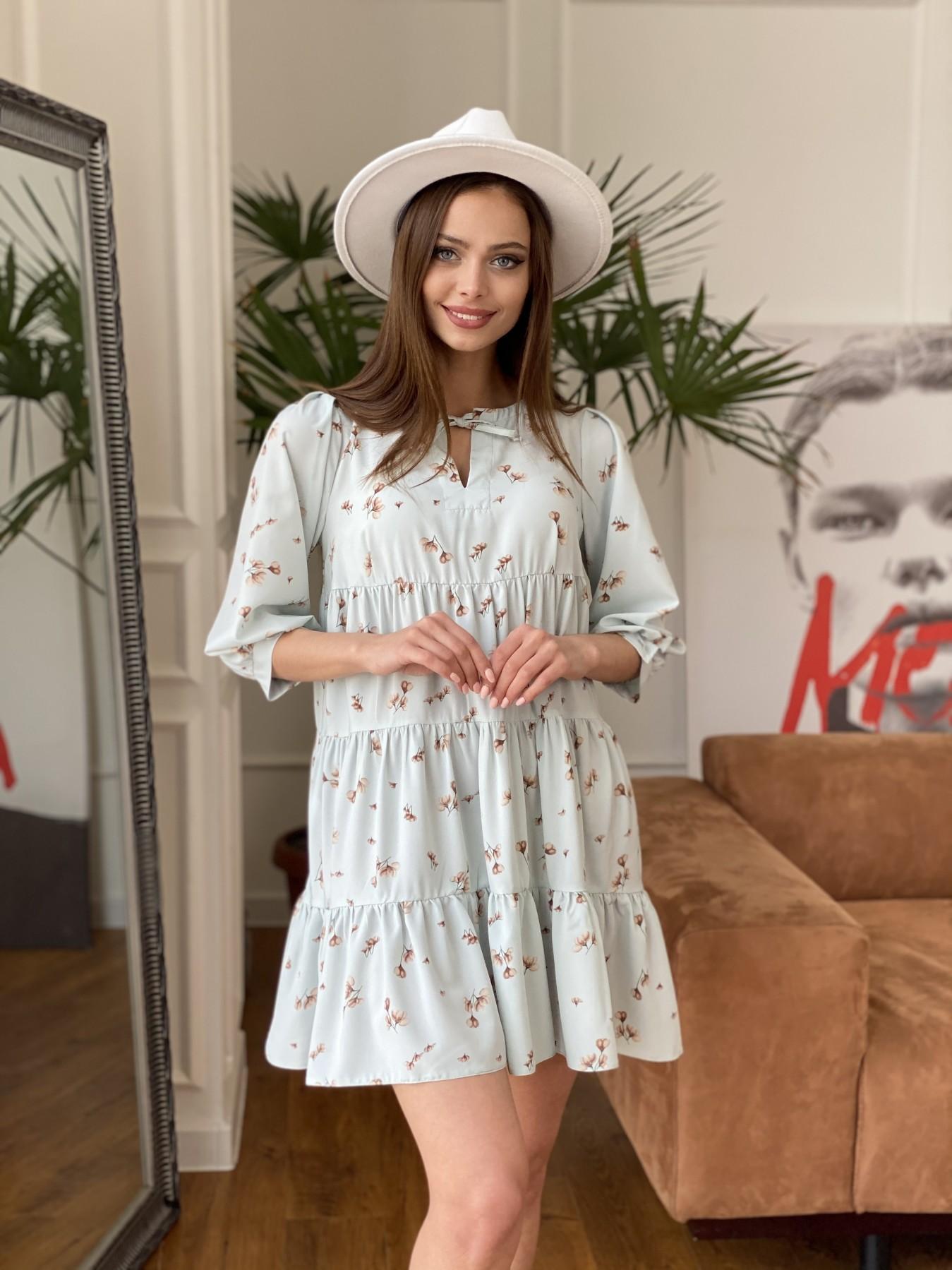 Нинель платье из софта с принтом 11114 АРТ. 47603 Цвет: МятаСв/БежЦветокМел - фото 3, интернет магазин tm-modus.ru