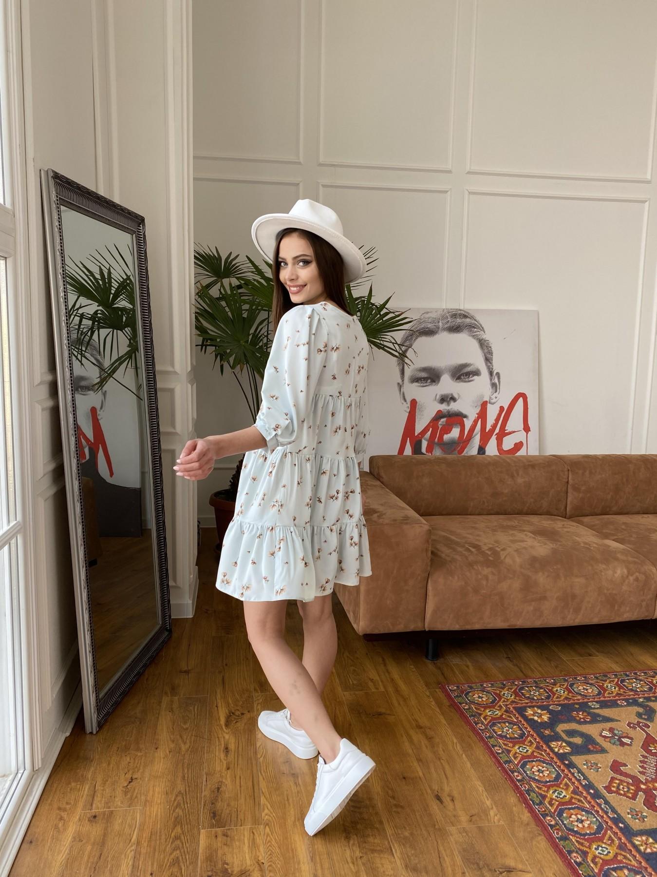 Нинель платье из софта с принтом 11114 АРТ. 47603 Цвет: МятаСв/БежЦветокМел - фото 6, интернет магазин tm-modus.ru