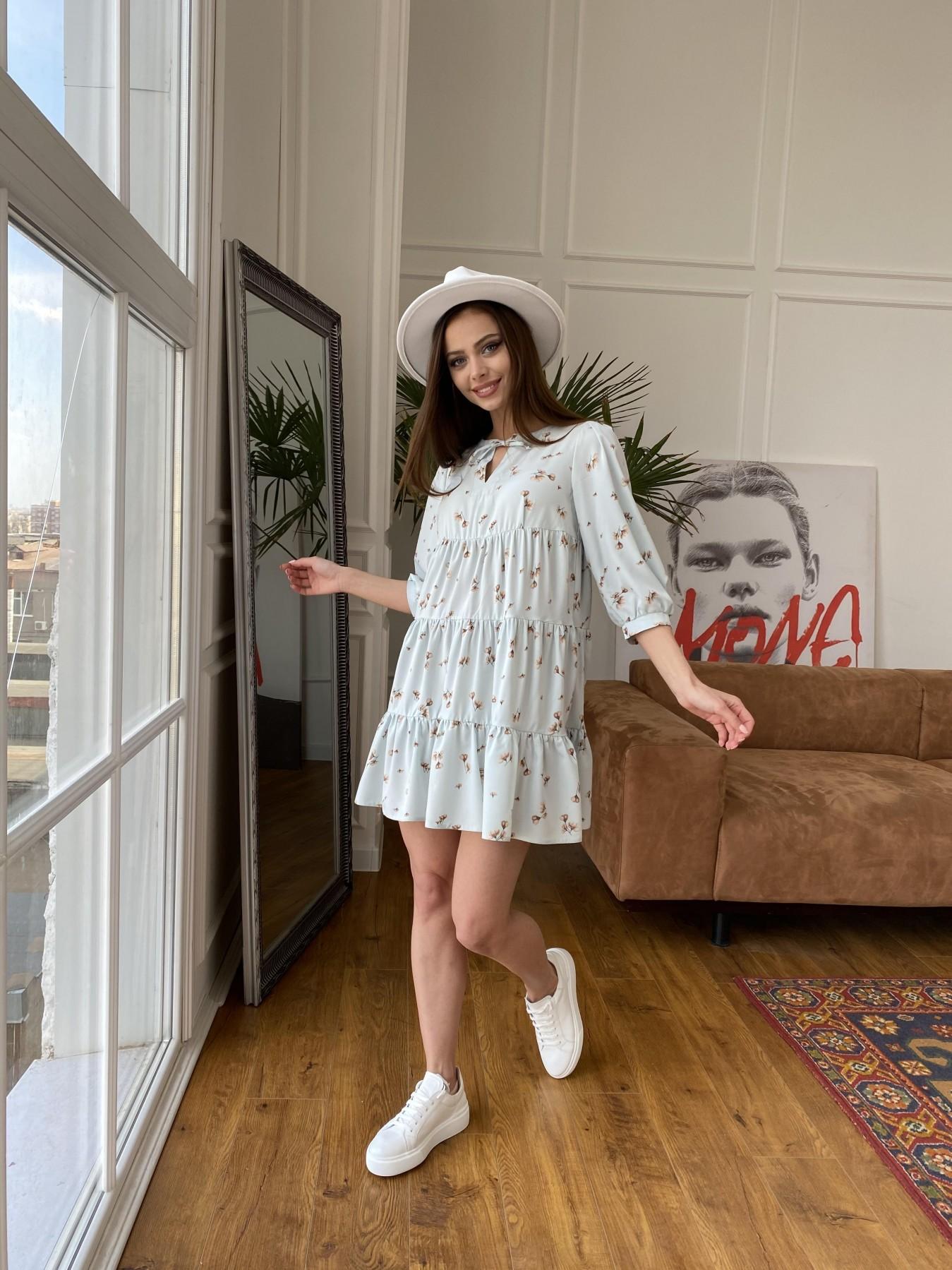 Нинель платье из софта с принтом 11114 АРТ. 47603 Цвет: МятаСв/БежЦветокМел - фото 7, интернет магазин tm-modus.ru