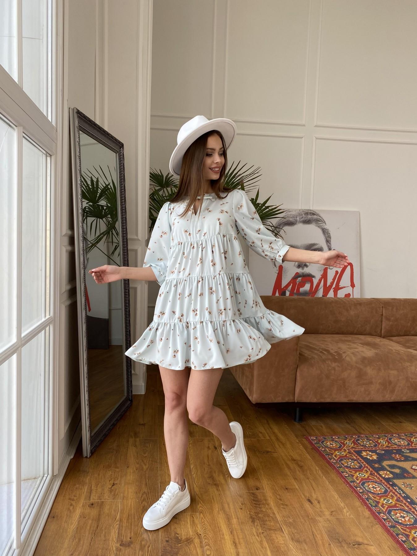 Нинель платье из софта с принтом 11114 АРТ. 47603 Цвет: МятаСв/БежЦветокМел - фото 8, интернет магазин tm-modus.ru