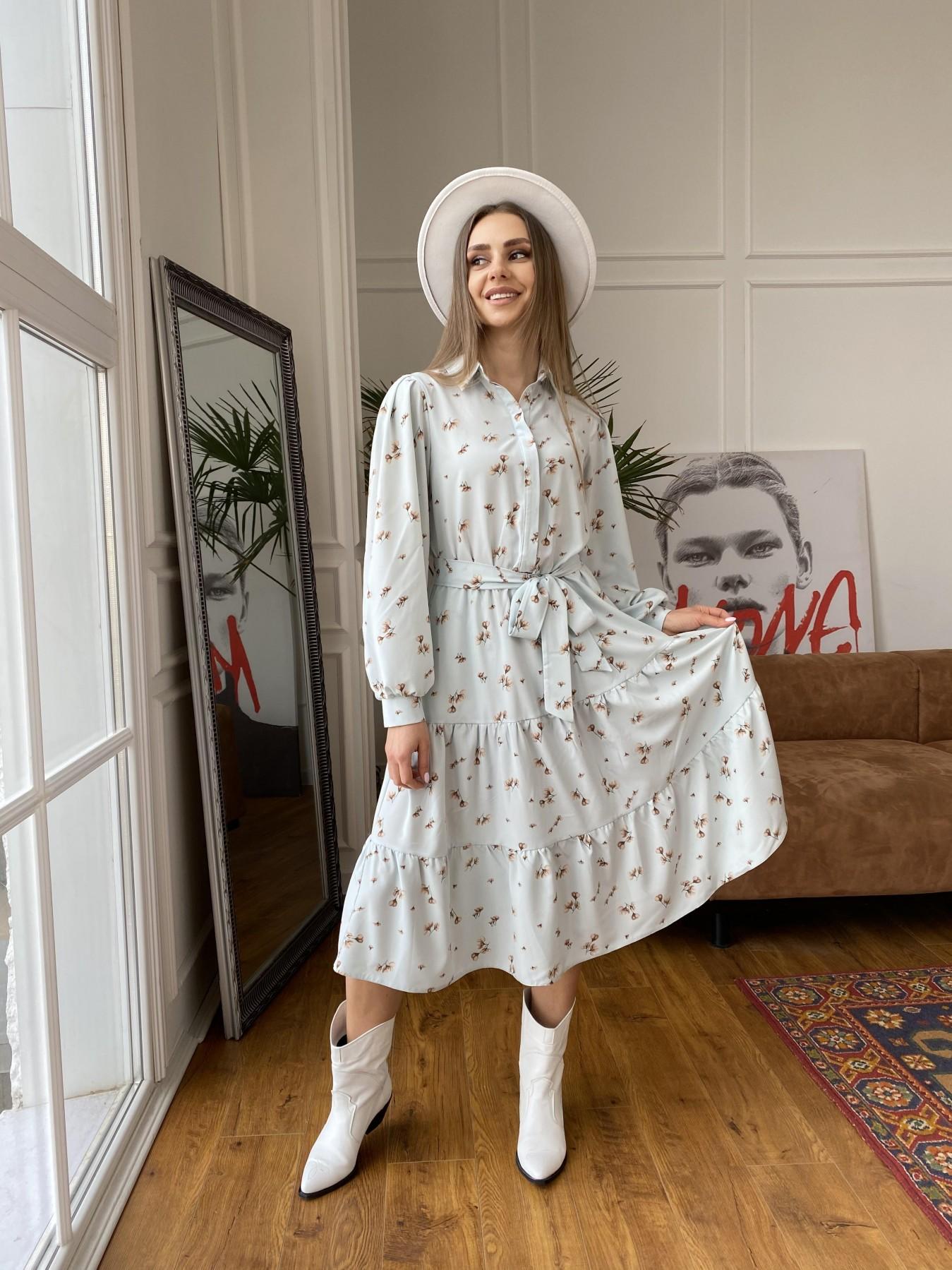 Лилия платье из софта с принтом 11108 АРТ. 47590 Цвет: МятаСв/БежЦветокМел - фото 1, интернет магазин tm-modus.ru