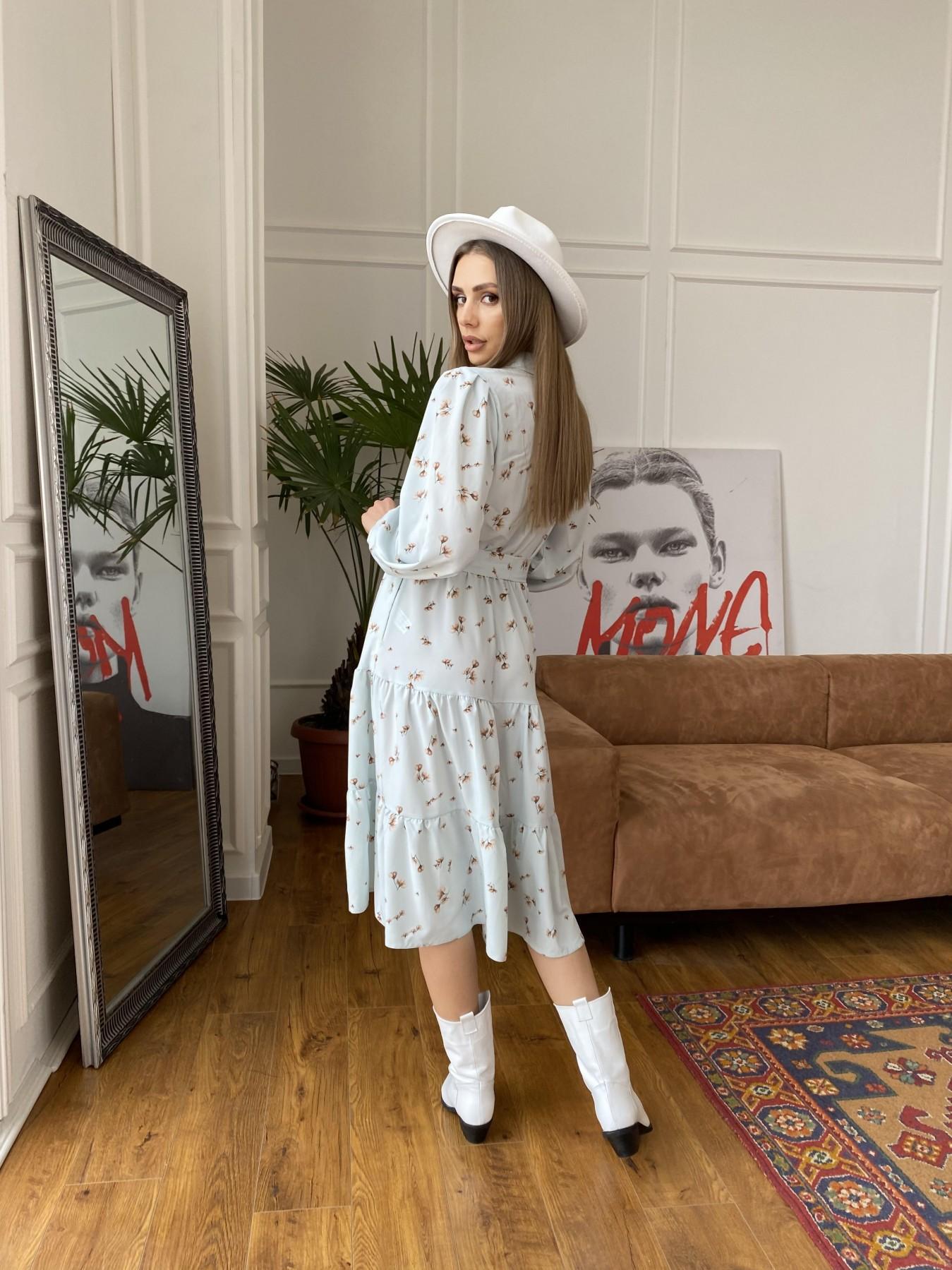 Лилия платье из софта с принтом 11108 АРТ. 47590 Цвет: МятаСв/БежЦветокМел - фото 3, интернет магазин tm-modus.ru