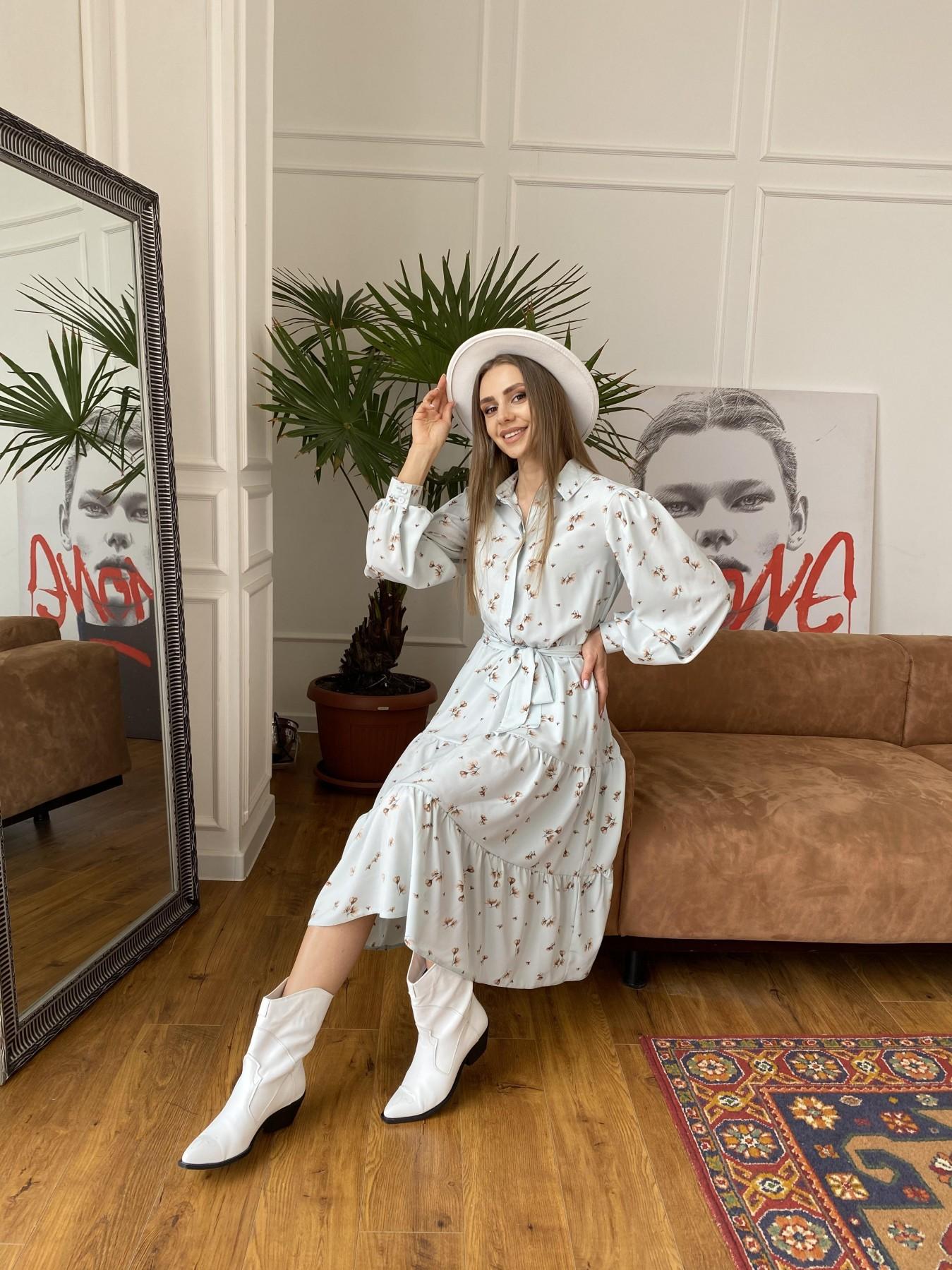 Лилия платье из софта с принтом 11108 АРТ. 47590 Цвет: МятаСв/БежЦветокМел - фото 4, интернет магазин tm-modus.ru