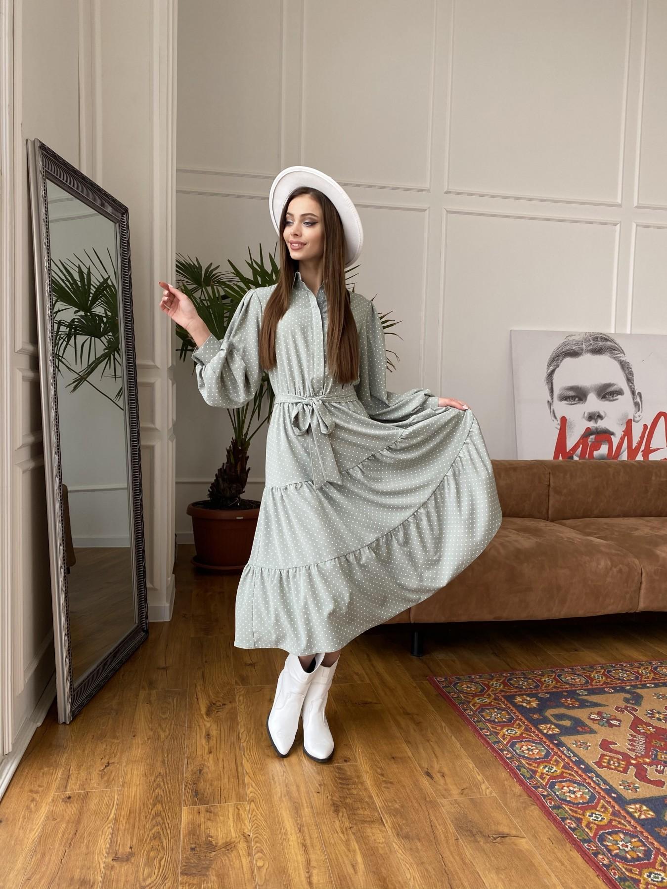 Лилия платье из софта с принтом 11108 АРТ. 47589 Цвет: Олива/ГорохБелыйМелк - фото 1, интернет магазин tm-modus.ru