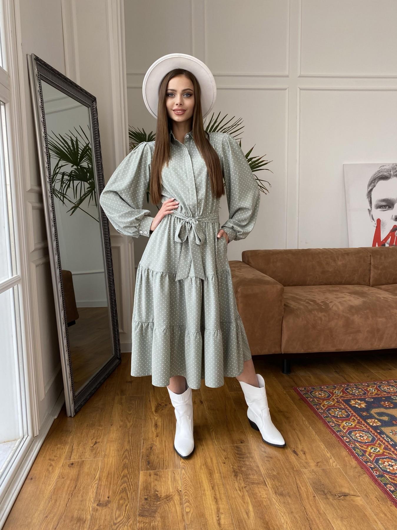 Лилия платье из софта с принтом 11108 АРТ. 47589 Цвет: Олива/ГорохБелыйМелк - фото 3, интернет магазин tm-modus.ru