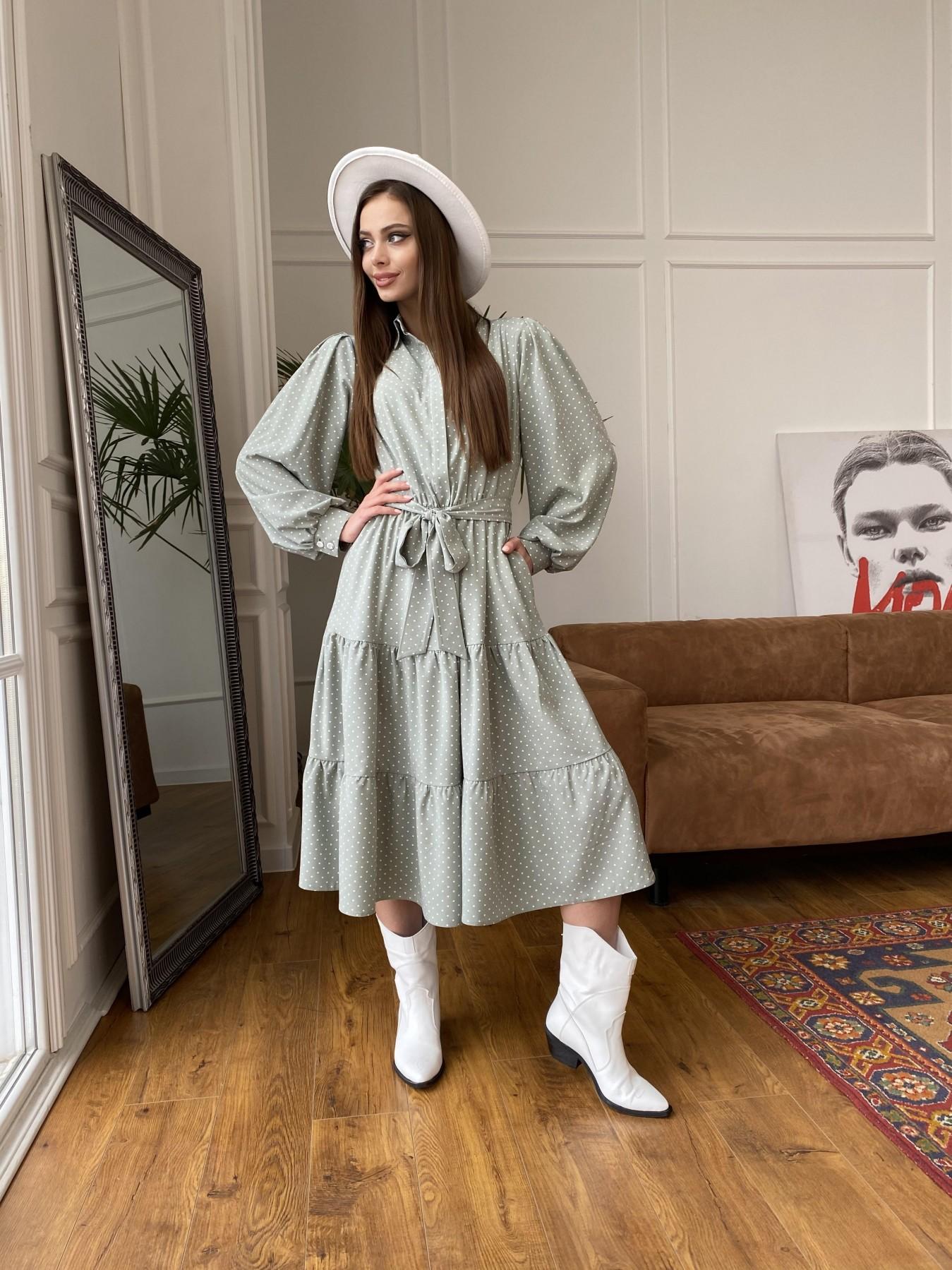 Лилия платье из софта с принтом 11108 АРТ. 47589 Цвет: Олива/ГорохБелыйМелк - фото 4, интернет магазин tm-modus.ru