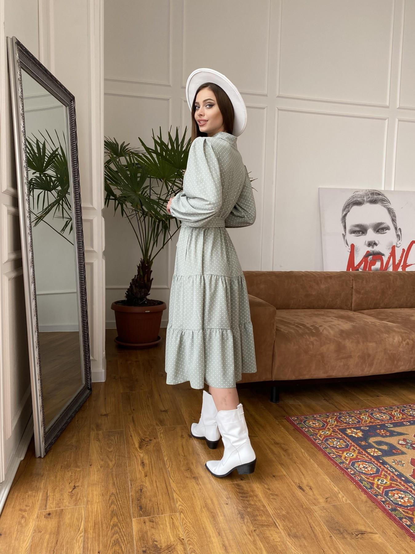 Лилия платье из софта с принтом 11108 АРТ. 47589 Цвет: Олива/ГорохБелыйМелк - фото 5, интернет магазин tm-modus.ru