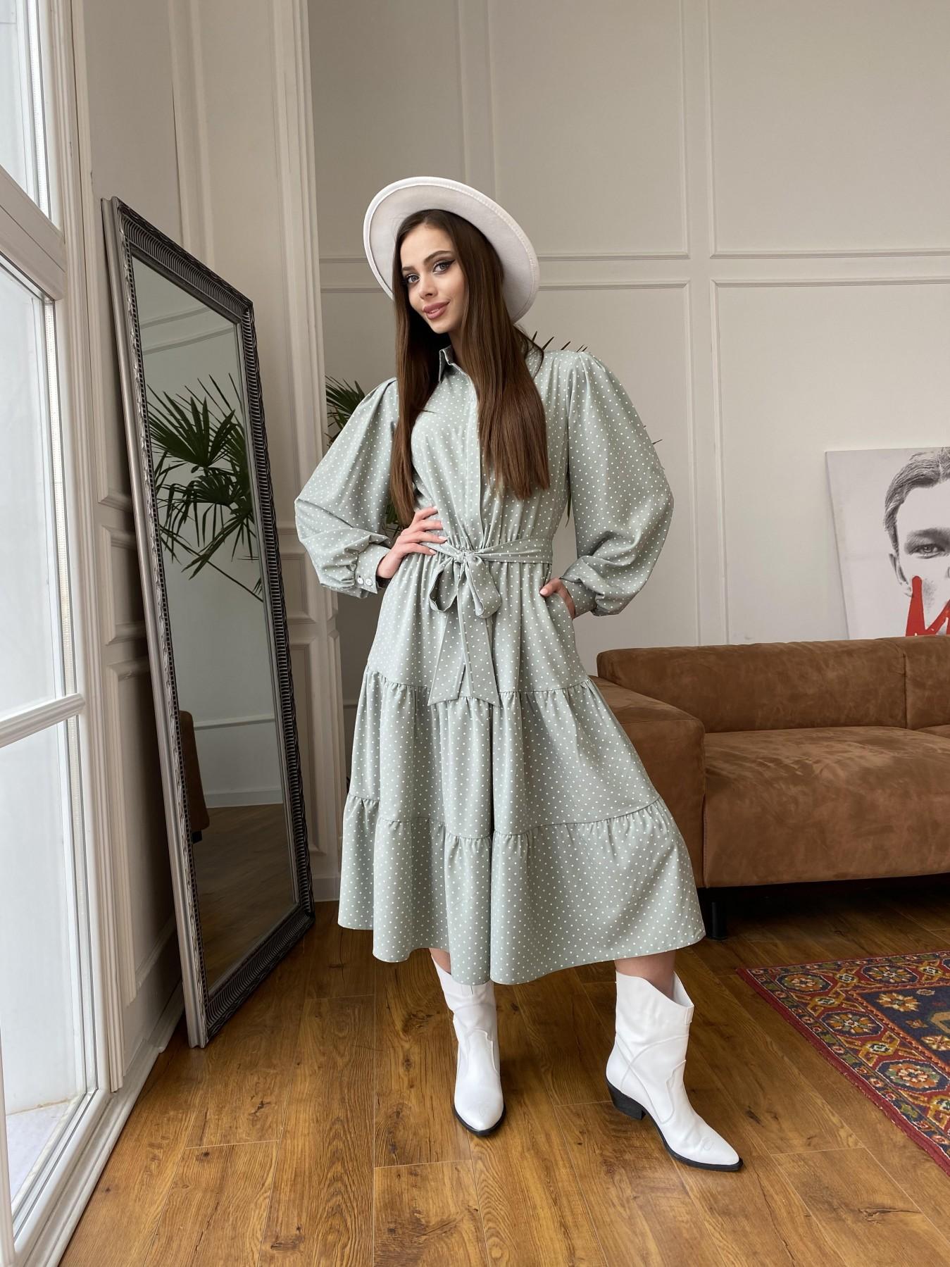 Лилия платье из софта с принтом 11108 АРТ. 47589 Цвет: Олива/ГорохБелыйМелк - фото 6, интернет магазин tm-modus.ru