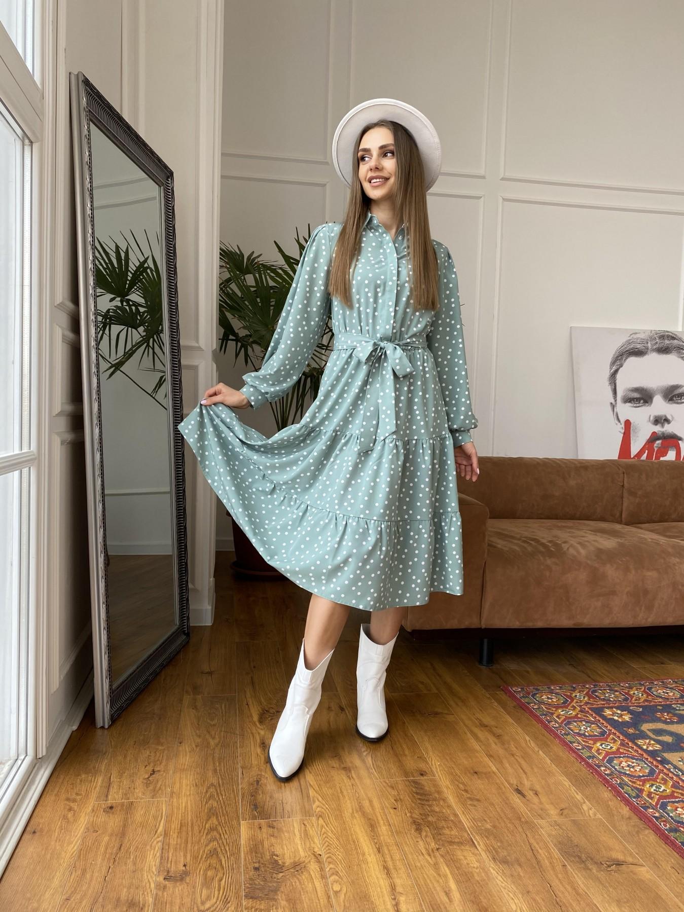 Лилия платье из софта с принтом 11108 АРТ. 47591 Цвет: МятаТем/БелыйГорохКом - фото 1, интернет магазин tm-modus.ru