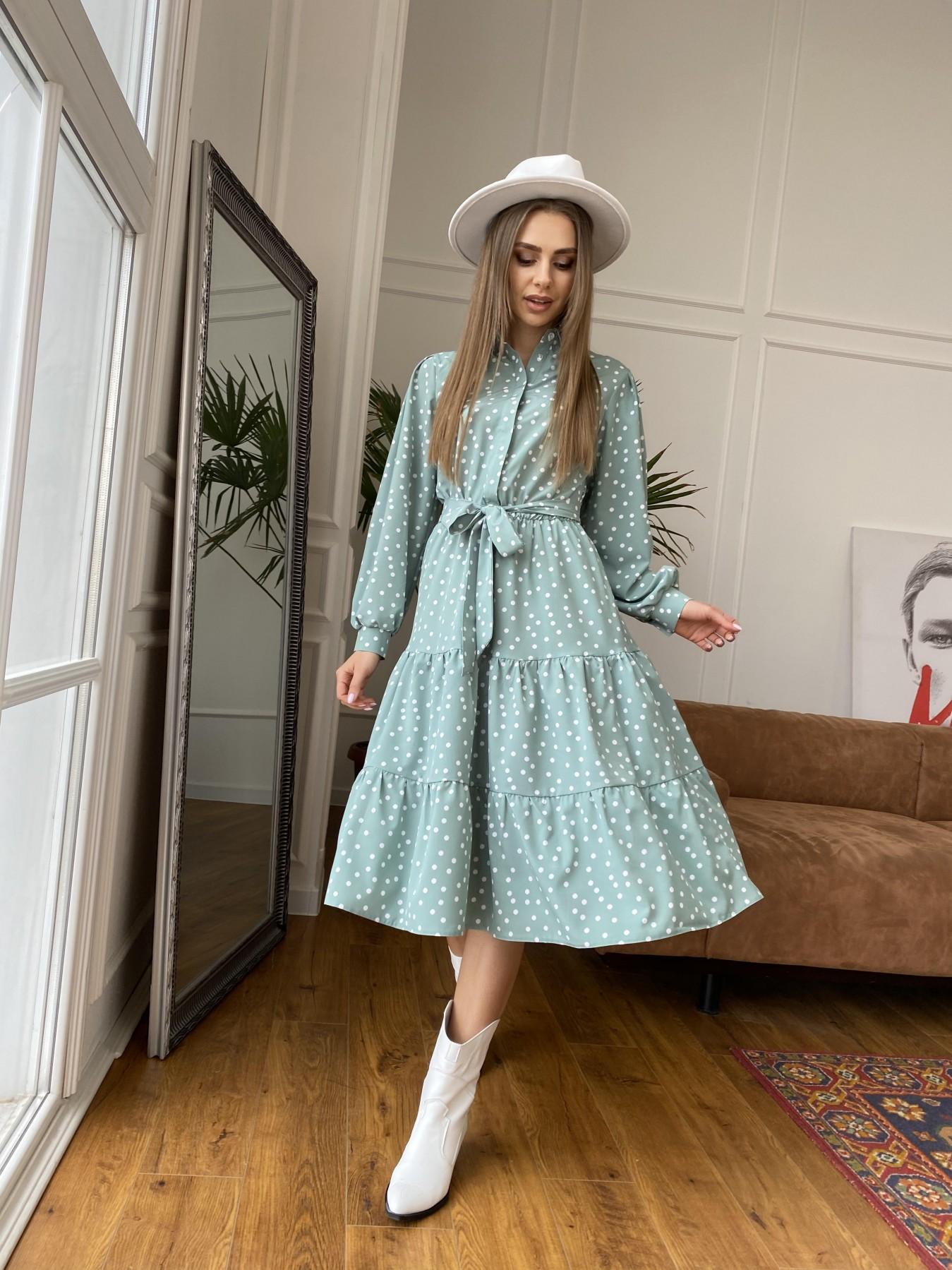 Лилия платье из софта с принтом 11108 АРТ. 47591 Цвет: МятаТем/БелыйГорохКом - фото 2, интернет магазин tm-modus.ru