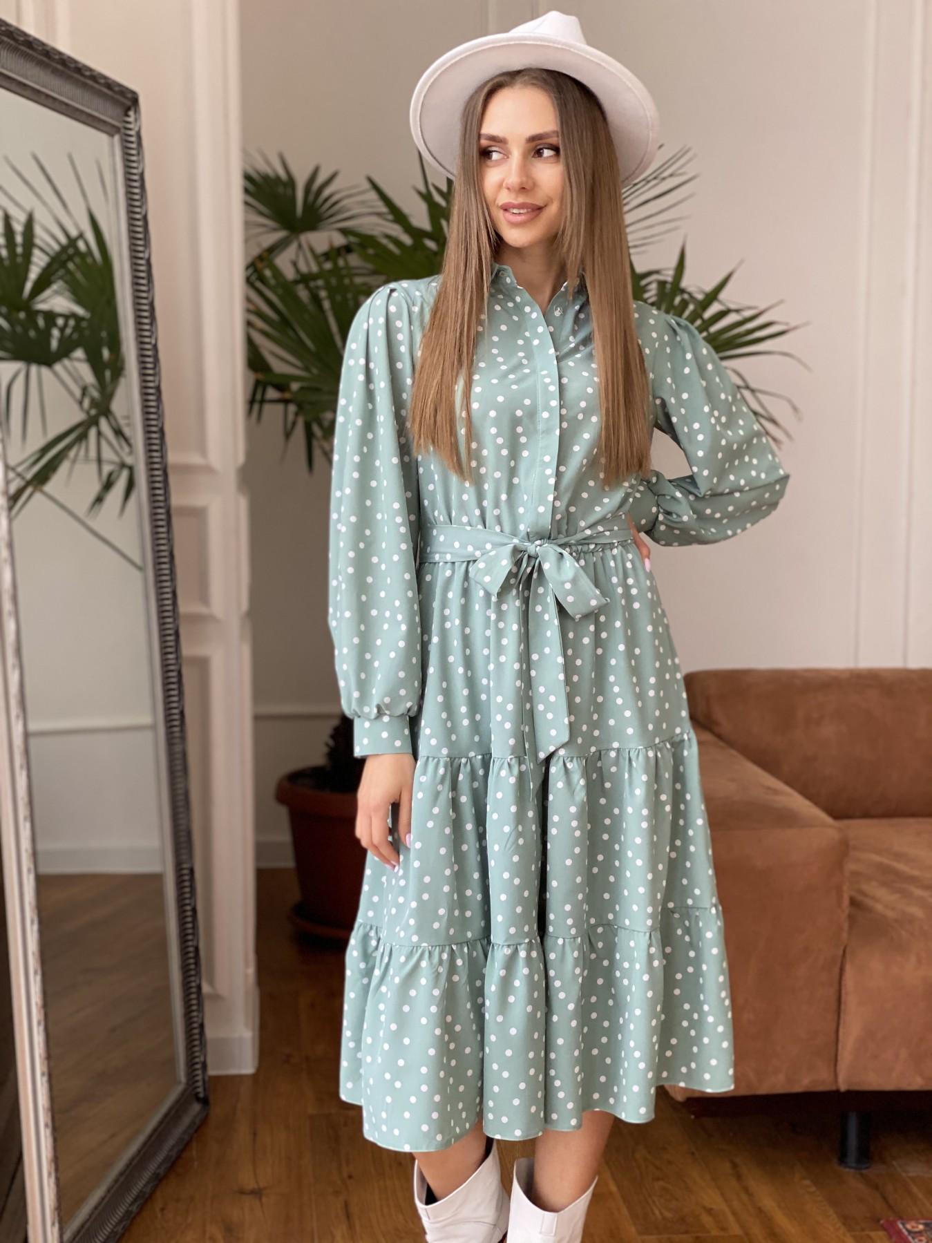 Лилия платье из софта с принтом 11108 АРТ. 47591 Цвет: МятаТем/БелыйГорохКом - фото 4, интернет магазин tm-modus.ru