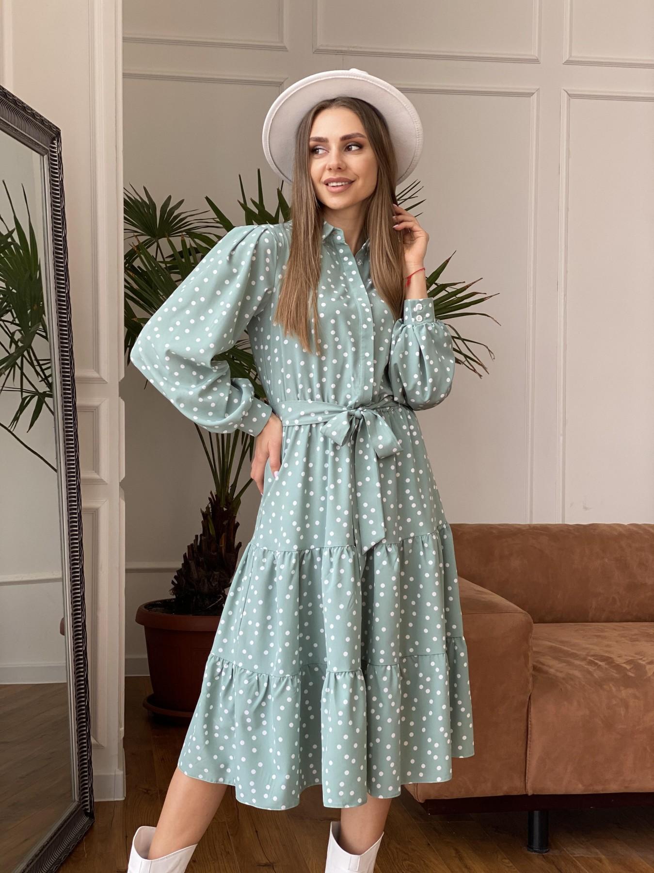 Лилия платье из софта с принтом 11108 АРТ. 47591 Цвет: МятаТем/БелыйГорохКом - фото 5, интернет магазин tm-modus.ru