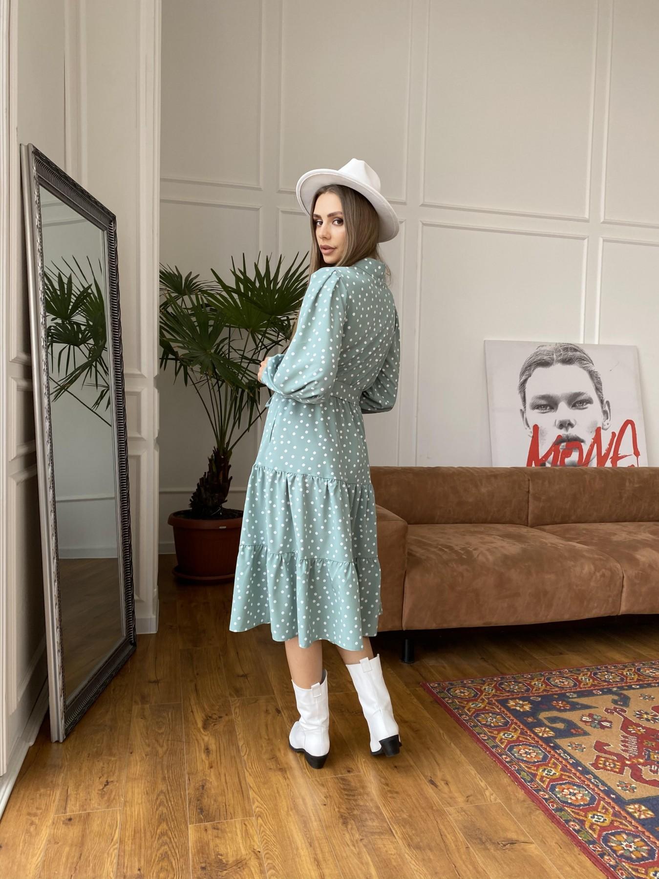 Лилия платье из софта с принтом 11108 АРТ. 47591 Цвет: МятаТем/БелыйГорохКом - фото 6, интернет магазин tm-modus.ru