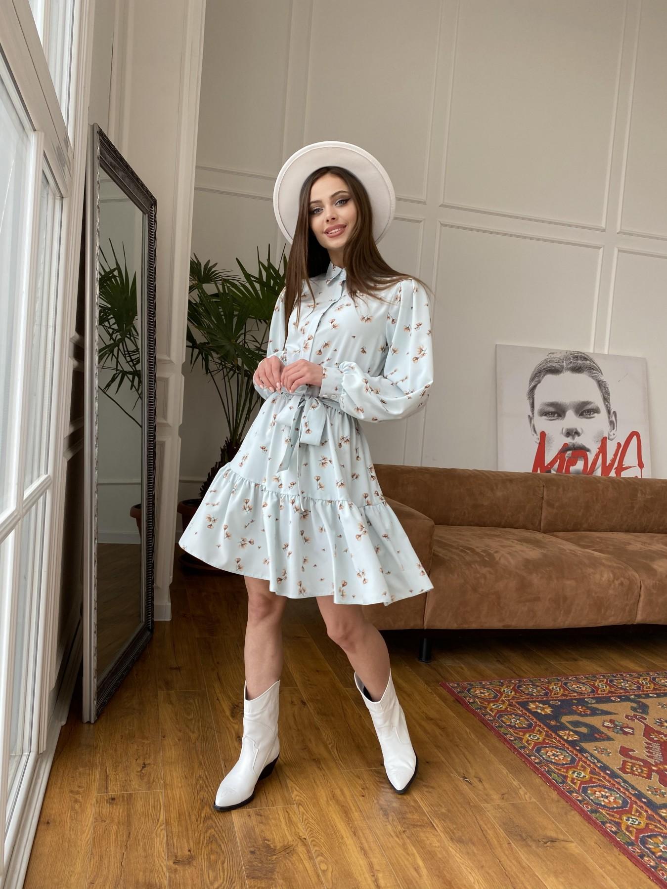 Молизе  платье из софта с принтом 11110 АРТ. 47602 Цвет: МятаСв/БежЦветокМел - фото 2, интернет магазин tm-modus.ru