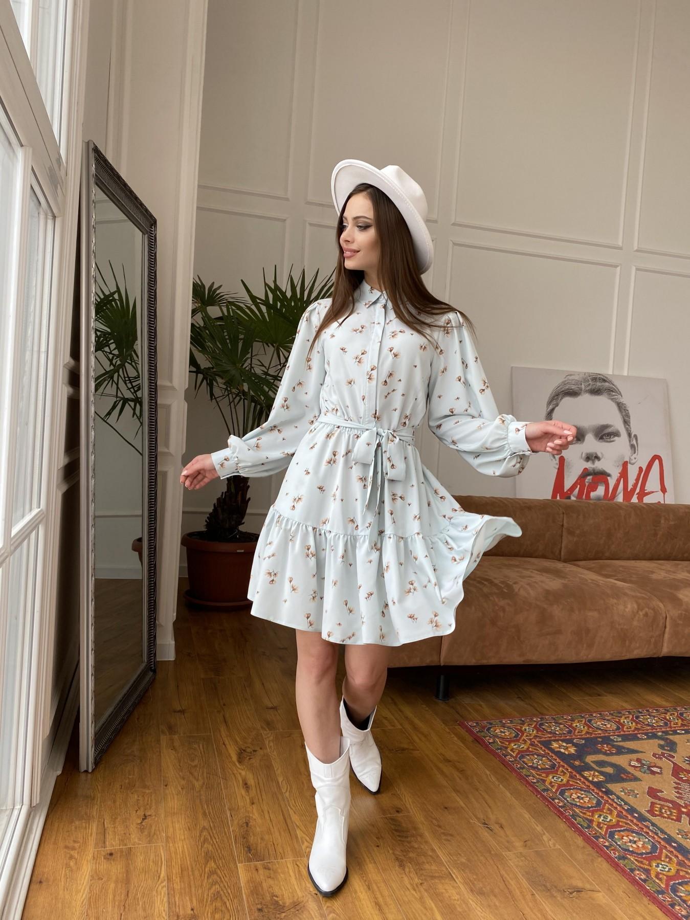 Молизе  платье из софта с принтом 11110 АРТ. 47602 Цвет: МятаСв/БежЦветокМел - фото 3, интернет магазин tm-modus.ru