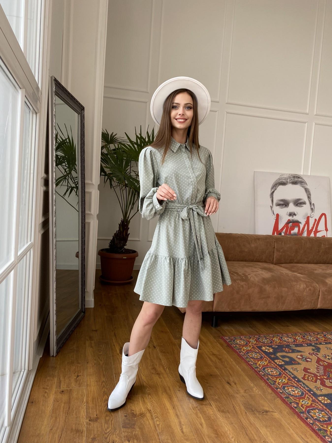 Молизе  платье из софта с принтом 11110 АРТ. 47592 Цвет: Олива/ГорохБелыйМелк - фото 1, интернет магазин tm-modus.ru