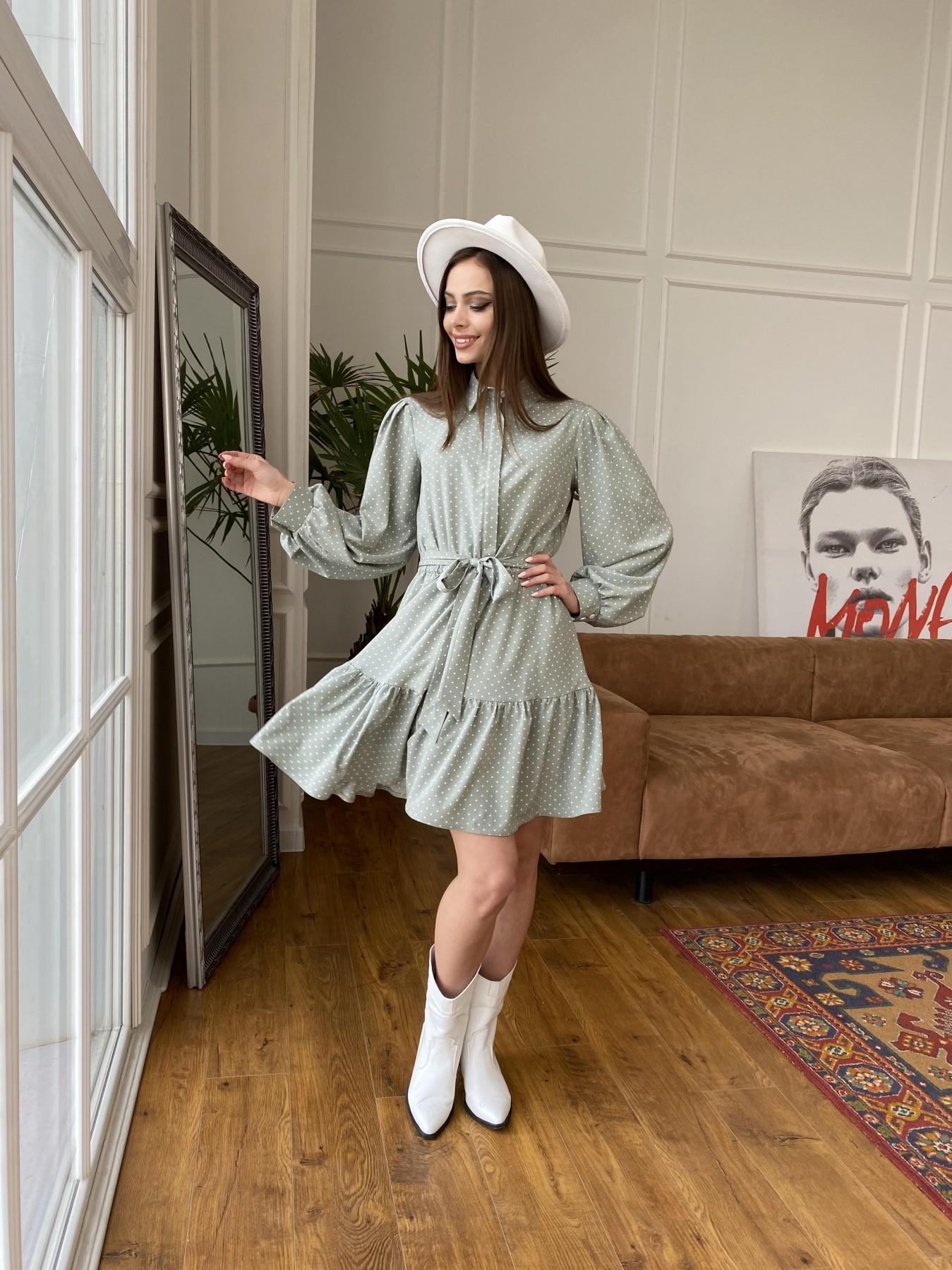 Молизе  платье из софта с принтом 11110 АРТ. 47592 Цвет: Олива/ГорохБелыйМелк - фото 2, интернет магазин tm-modus.ru