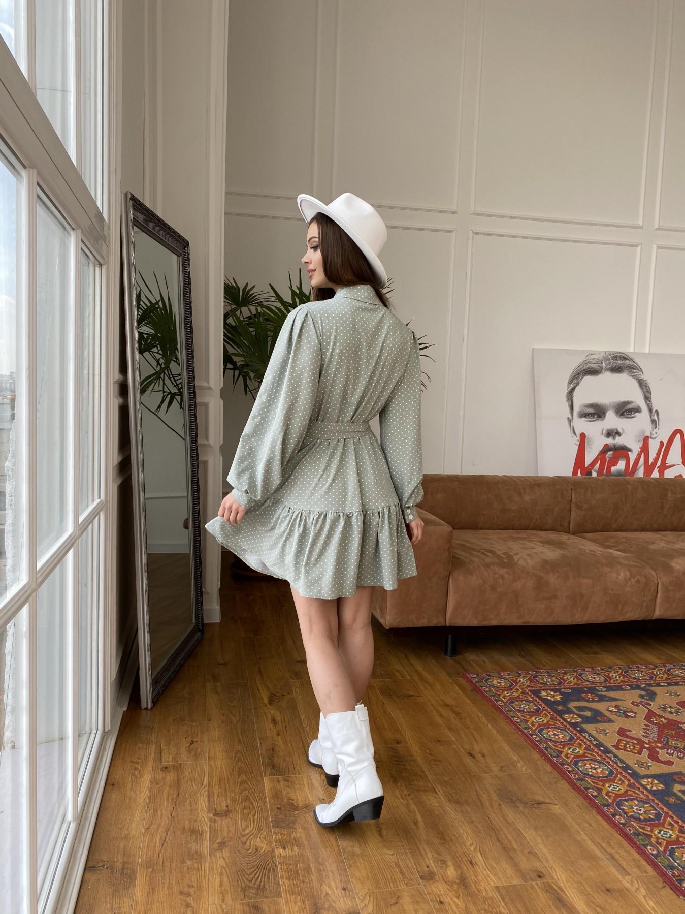 Молизе  платье из софта с принтом 11110 АРТ. 47592 Цвет: Олива/ГорохБелыйМелк - фото 4, интернет магазин tm-modus.ru