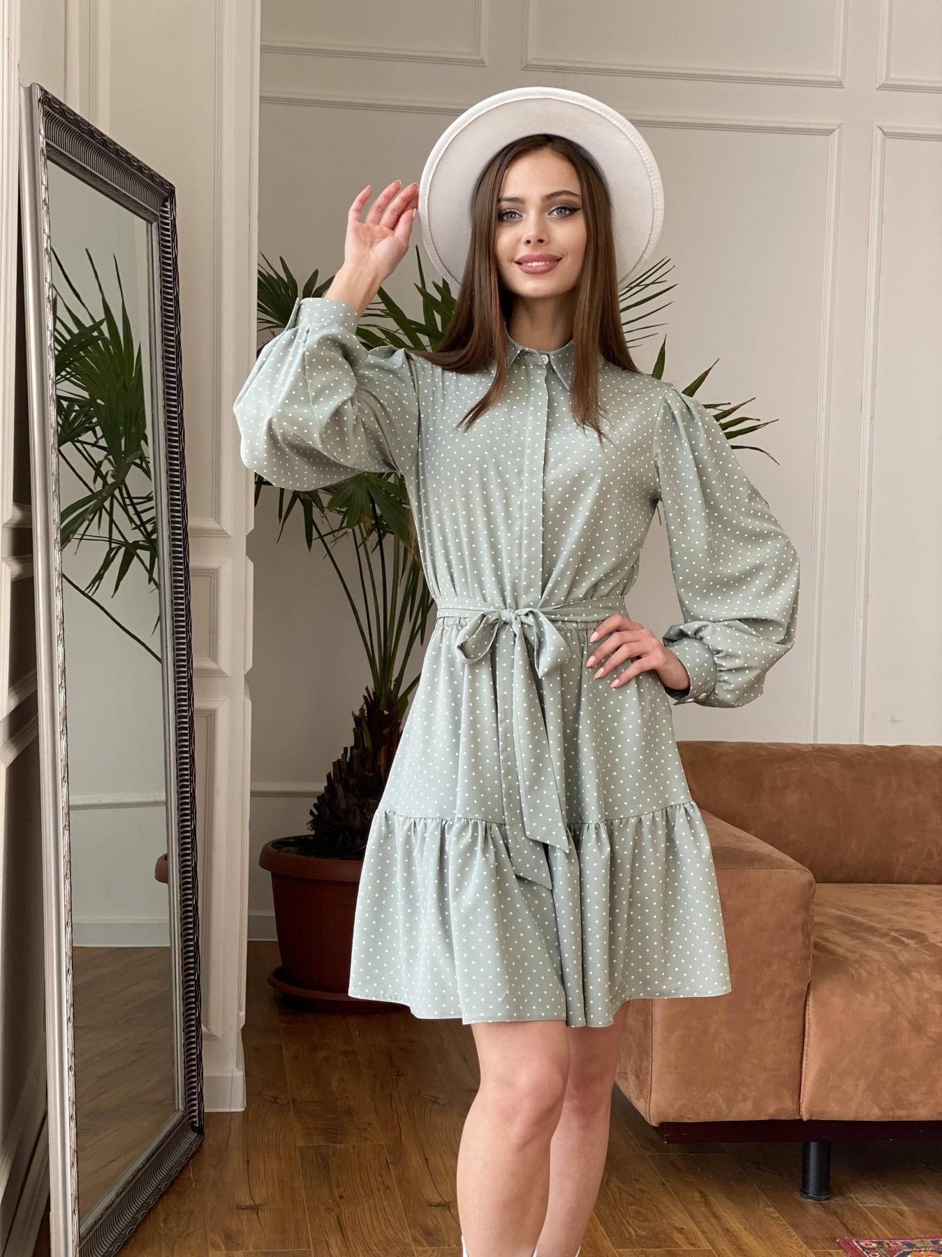 Молизе  платье из софта с принтом 11110 АРТ. 47592 Цвет: Олива/ГорохБелыйМелк - фото 5, интернет магазин tm-modus.ru