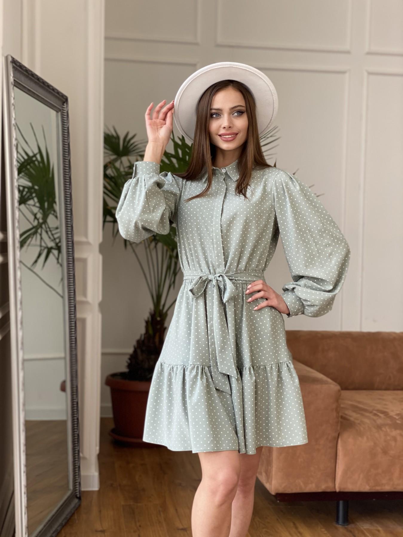 Молизе  платье из софта с принтом 11110 АРТ. 47592 Цвет: Олива/ГорохБелыйМелк - фото 6, интернет магазин tm-modus.ru