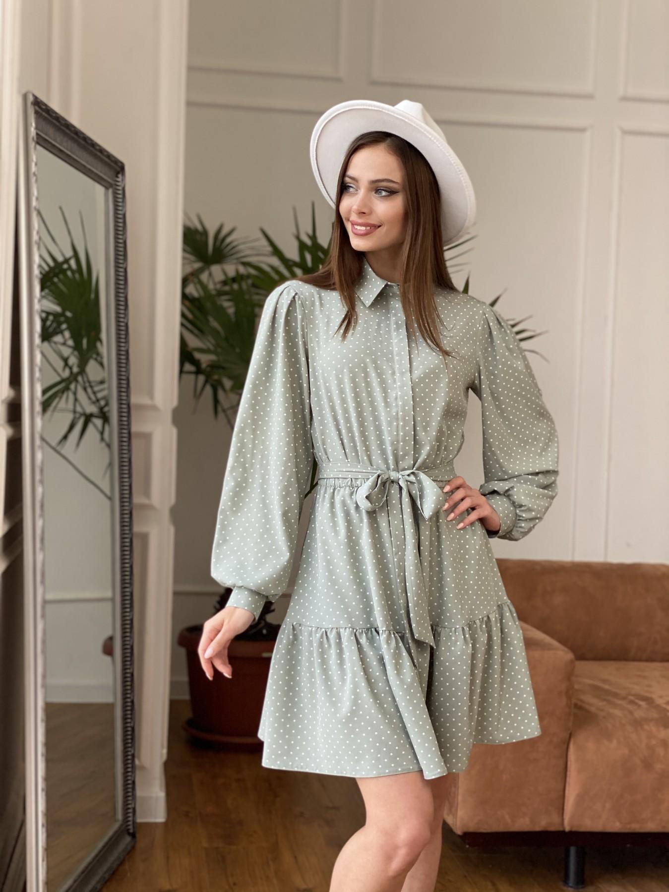 Молизе  платье из софта с принтом 11110 АРТ. 47592 Цвет: Олива/ГорохБелыйМелк - фото 7, интернет магазин tm-modus.ru