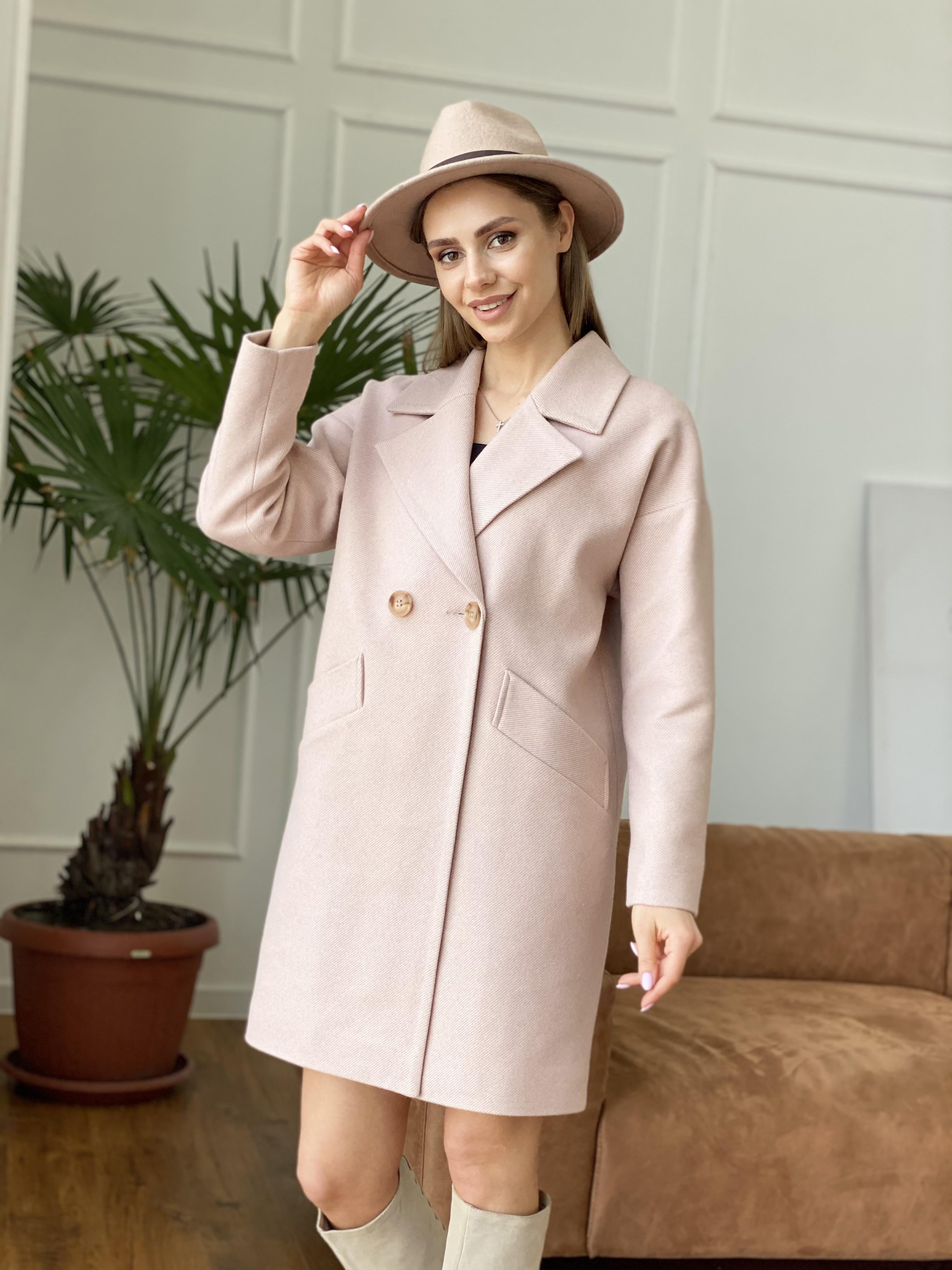 Сенсей диагональ  пальто 10661 АРТ. 47064 Цвет: Пудра - фото 1, интернет магазин tm-modus.ru