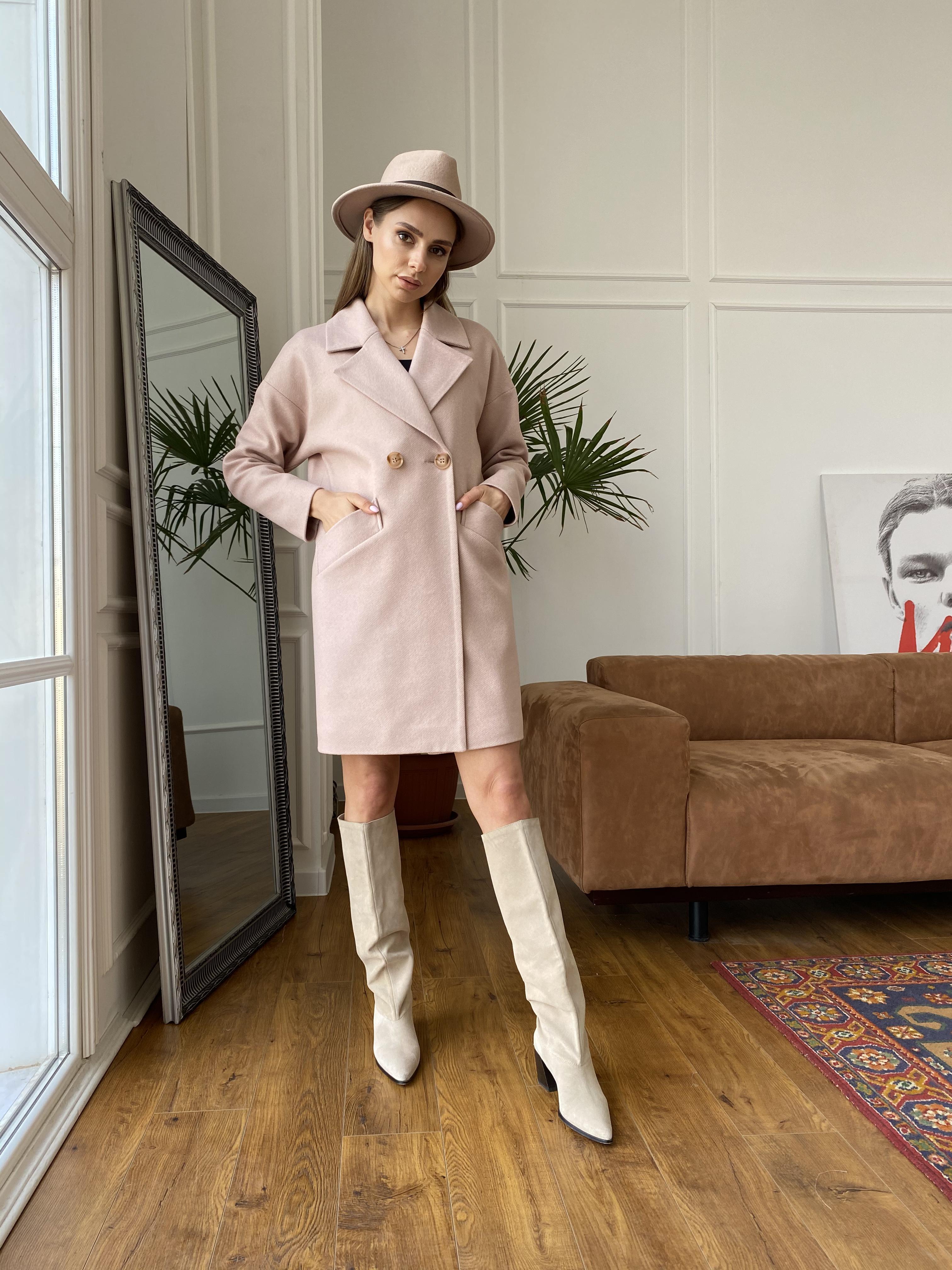 Сенсей диагональ  пальто 10661 АРТ. 47064 Цвет: Пудра - фото 3, интернет магазин tm-modus.ru