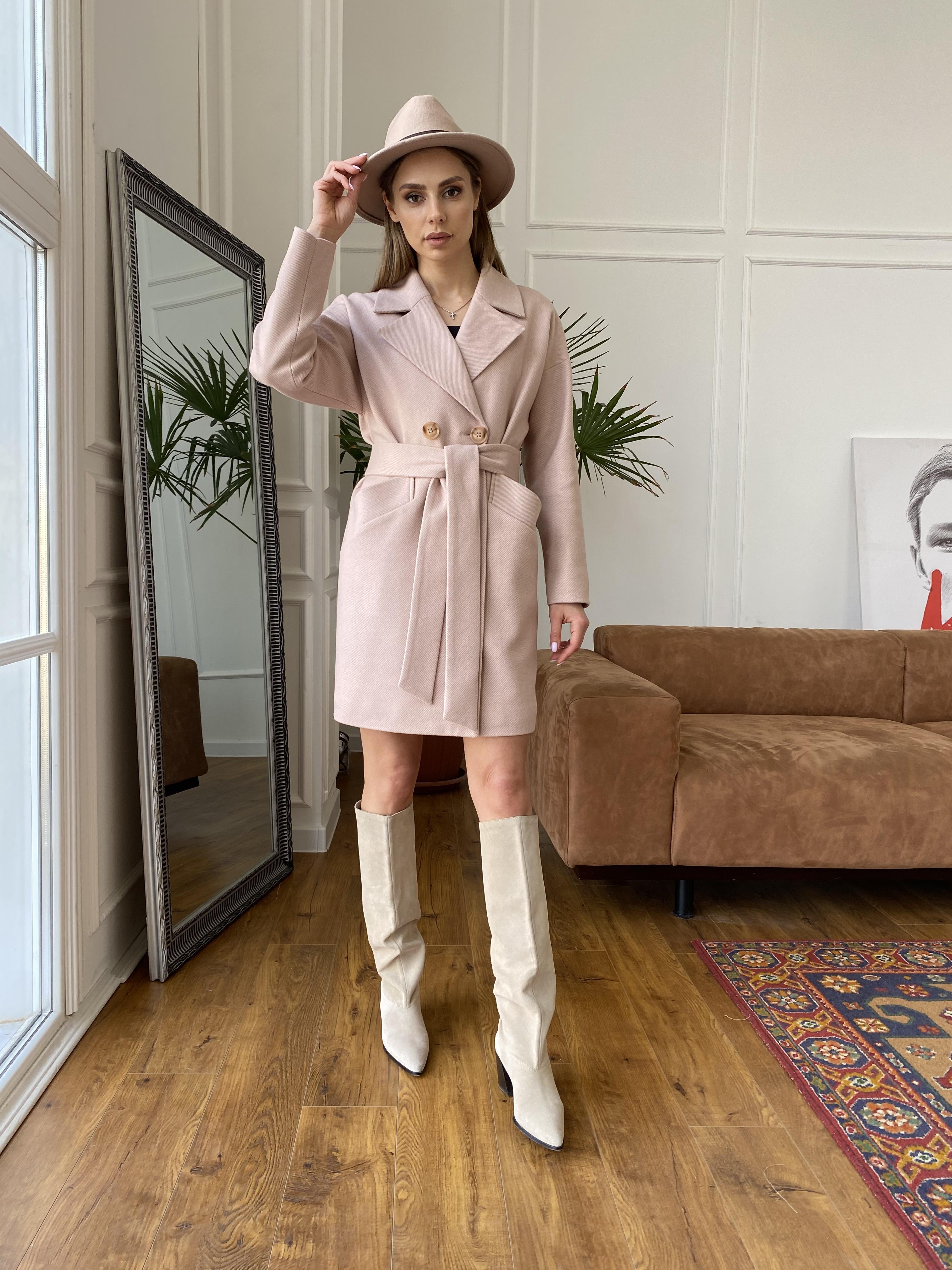Сенсей диагональ  пальто 10661 АРТ. 47064 Цвет: Пудра - фото 5, интернет магазин tm-modus.ru