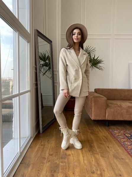 """Купить """"Мансера"""" пальто в клетку комби пальтовая ткань 11067 оптом и в розницу"""