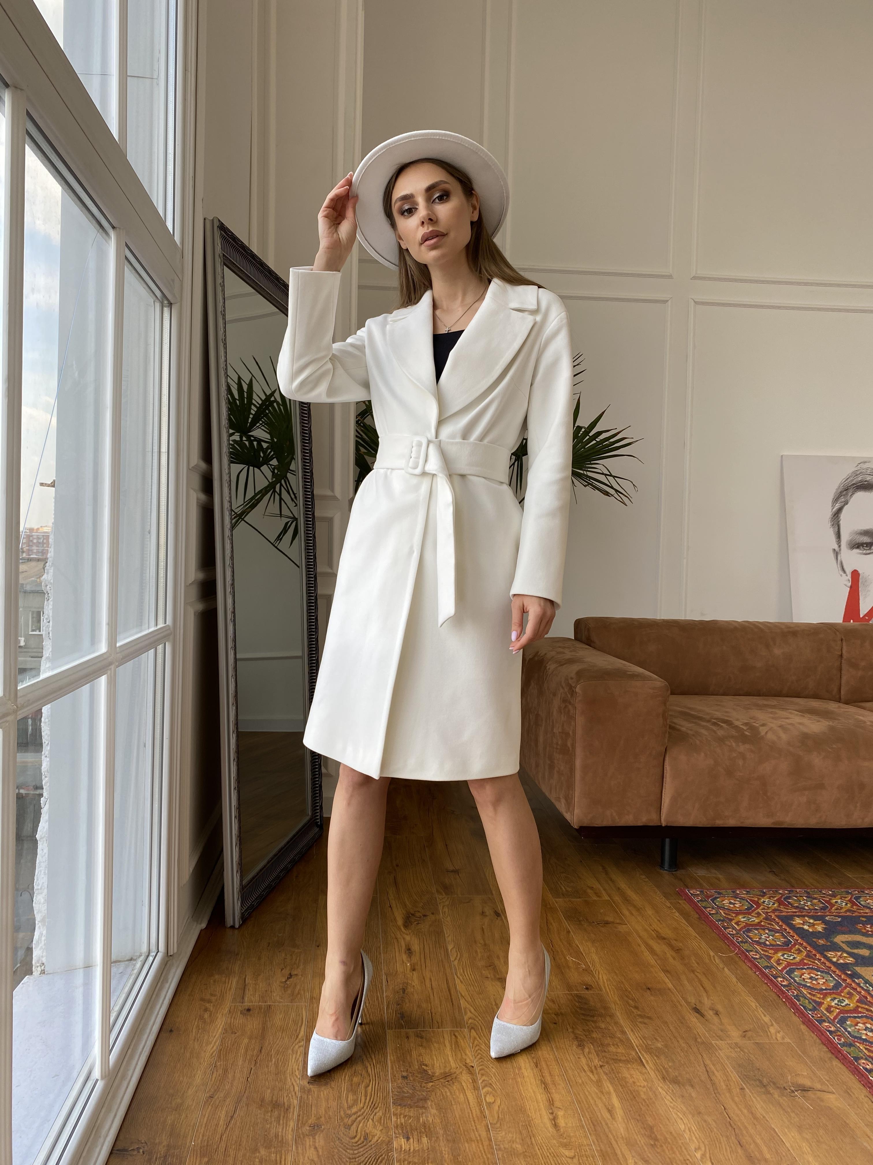 Севен пальто из гладкого кашемира 10621 АРТ. 46999 Цвет: Молоко - фото 3, интернет магазин tm-modus.ru