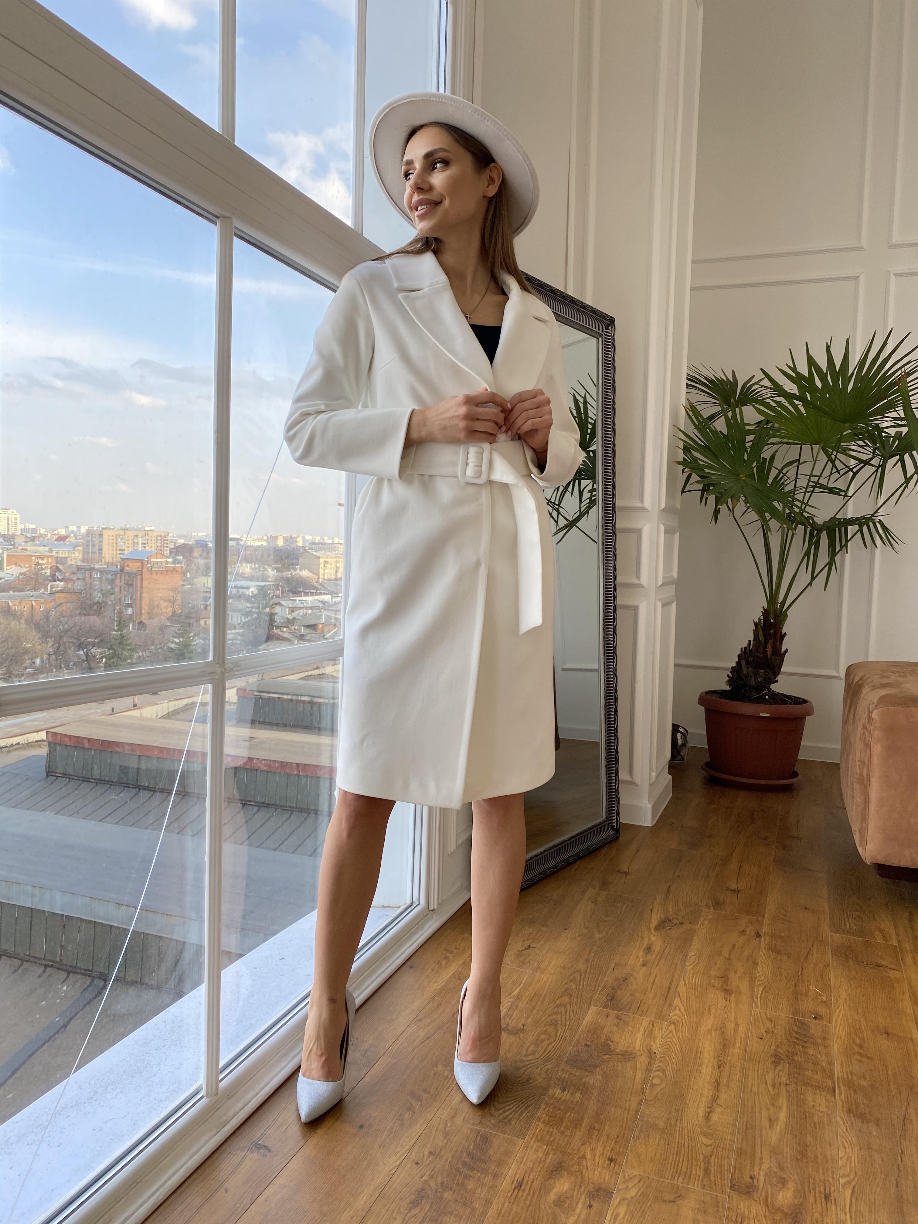 Севен пальто из гладкого кашемира 10621 АРТ. 46999 Цвет: Молоко - фото 4, интернет магазин tm-modus.ru