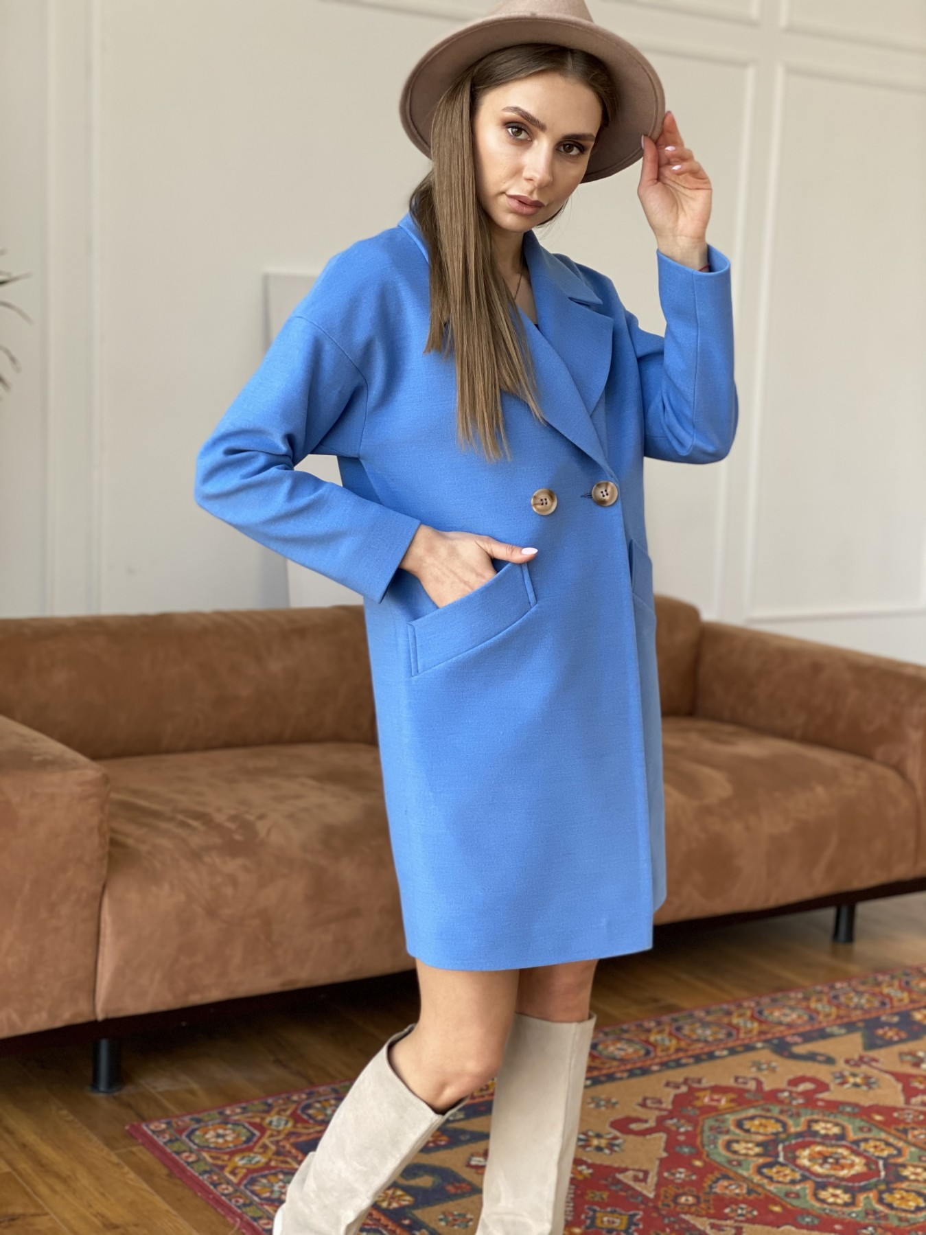 Сенсей пальто из кашемира 10572 АРТ. 47572 Цвет: Голубой - фото 4, интернет магазин tm-modus.ru