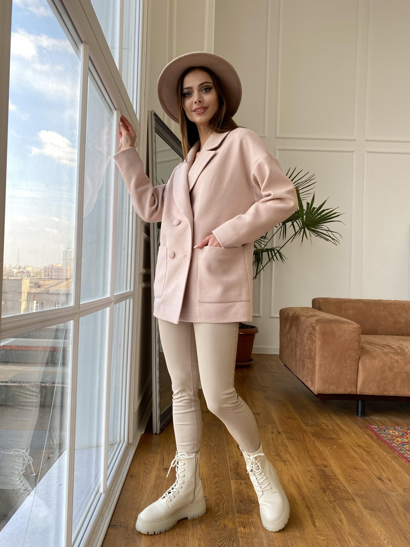 Мансера  пальто диагональ  10855 АРТ. 47358 Цвет: Пудра 11 - фото 3, интернет магазин tm-modus.ru