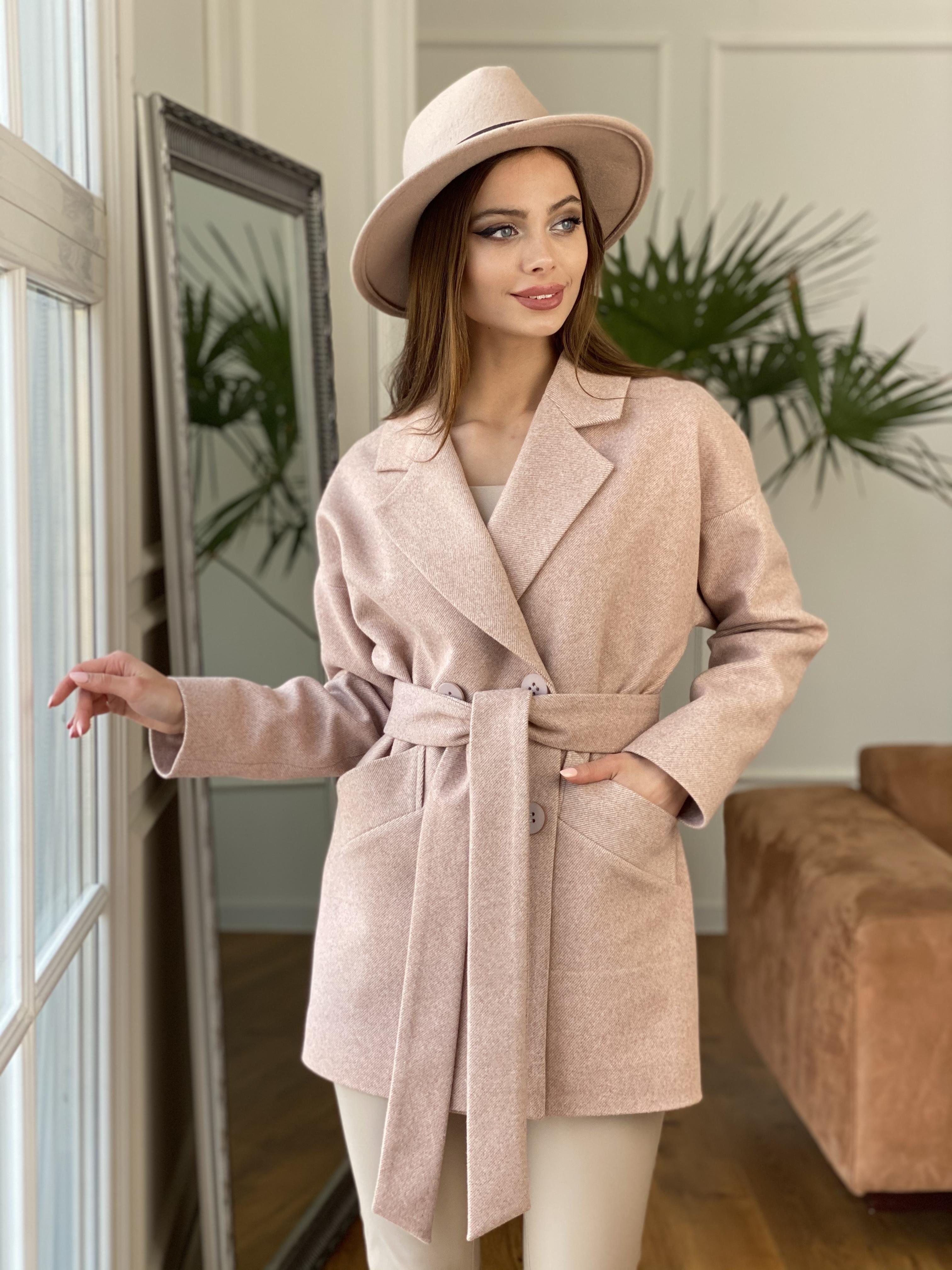 Бонд Диагональ пальто из пальтовой ткани  10757 АРТ. 47190 Цвет: Бежевый меланж 3 - фото 5, интернет магазин tm-modus.ru