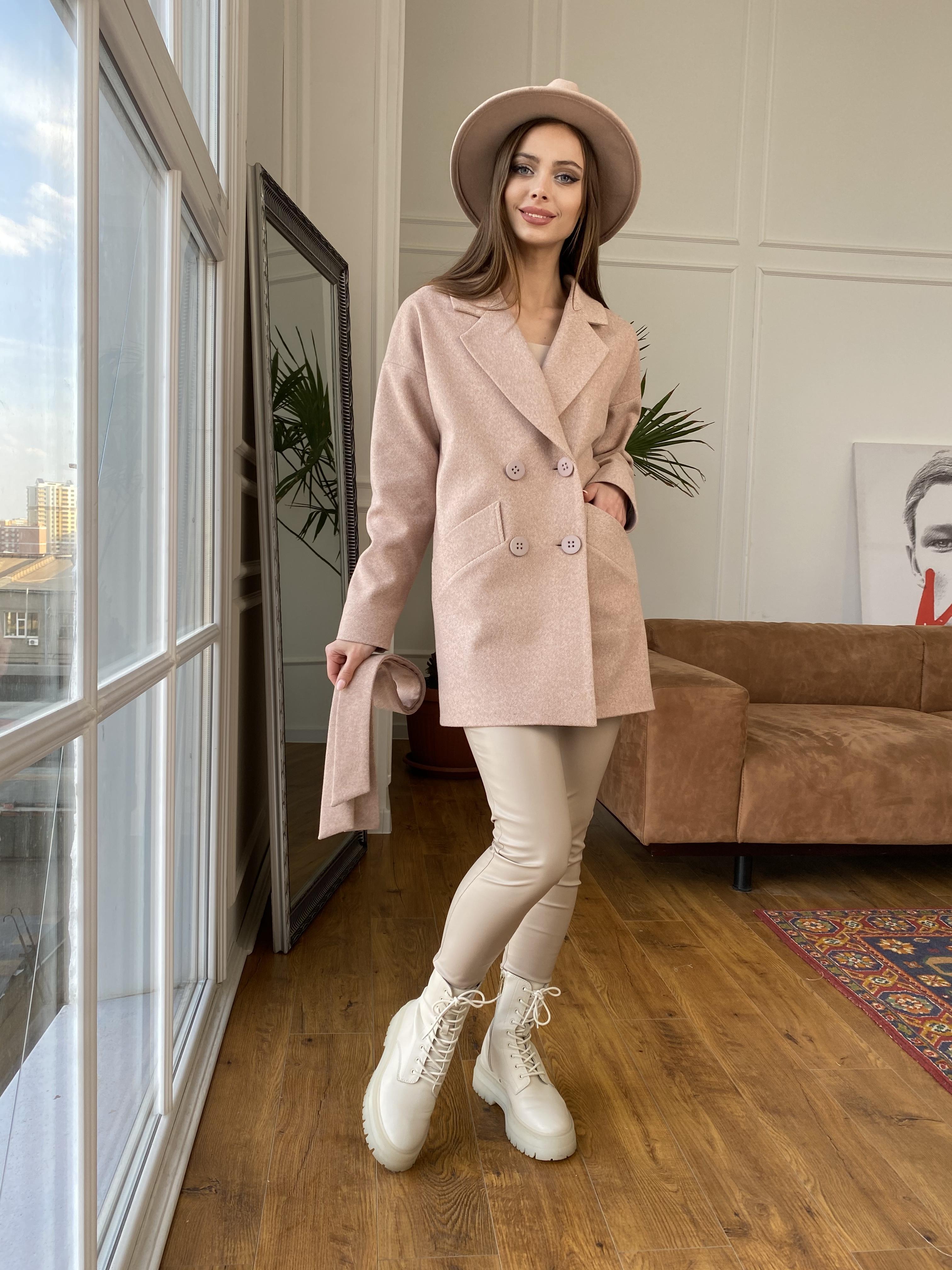 Бонд Диагональ пальто из пальтовой ткани  10757 АРТ. 47190 Цвет: Бежевый меланж 3 - фото 7, интернет магазин tm-modus.ru