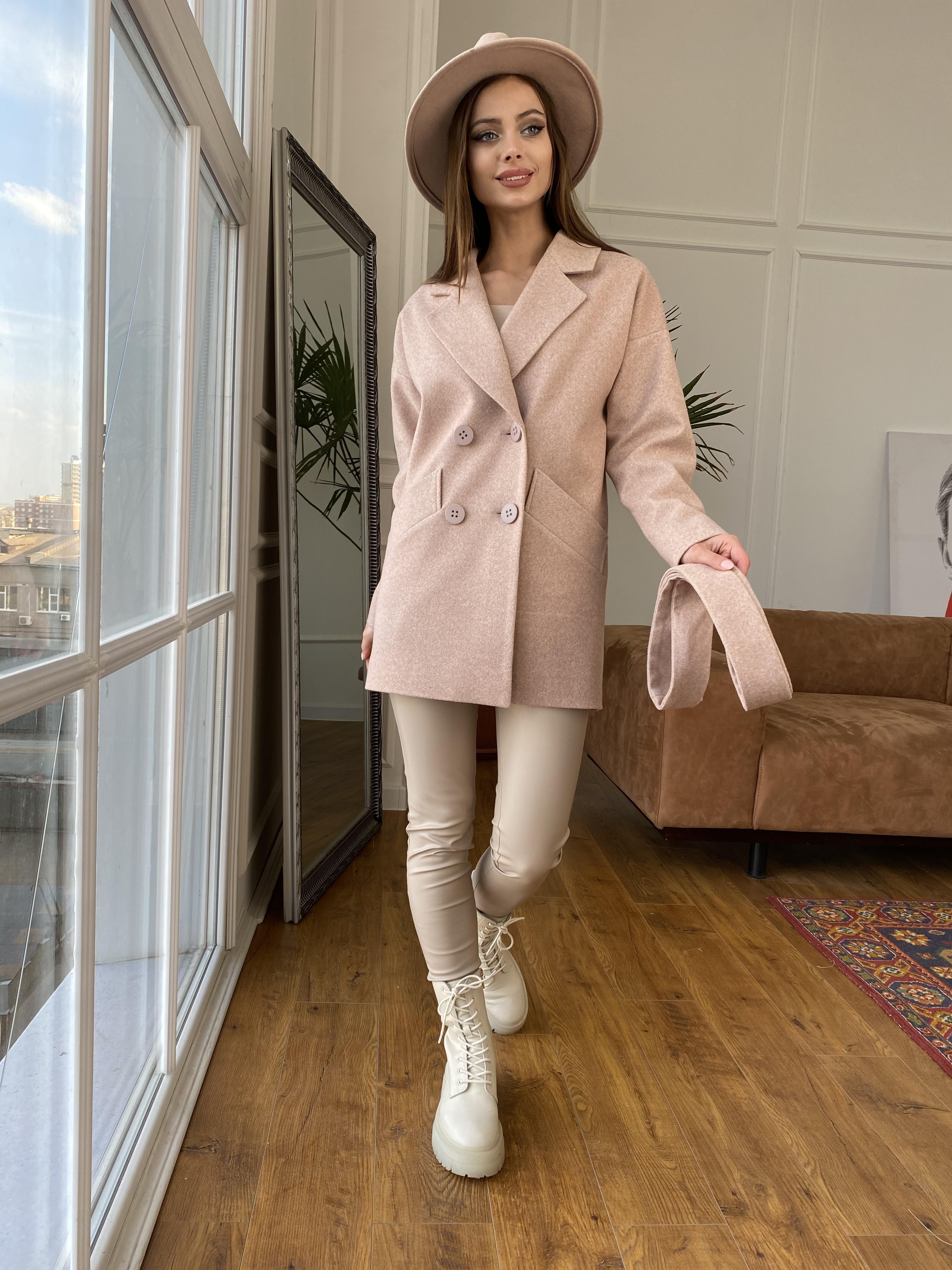 Бонд Диагональ пальто из пальтовой ткани  10757 АРТ. 47190 Цвет: Бежевый меланж 3 - фото 8, интернет магазин tm-modus.ru