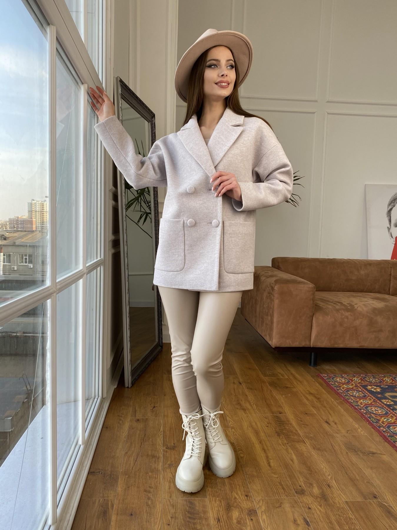 Мансера пальто кашемир меланж на трикотаже  10629 АРТ. 47553 Цвет: Бежевый меланж - фото 4, интернет магазин tm-modus.ru