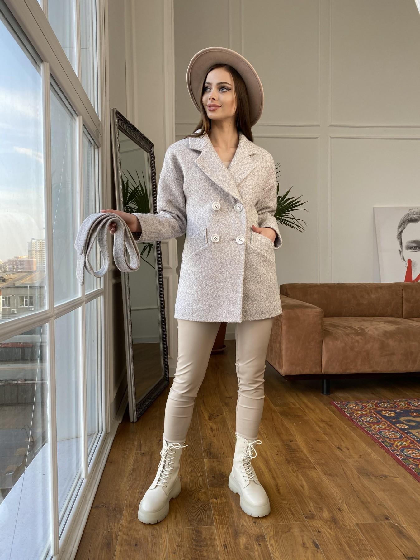 Бонд пальто из шерсти букле  10770 АРТ. 47496 Цвет: Серо-бежевый - фото 1, интернет магазин tm-modus.ru