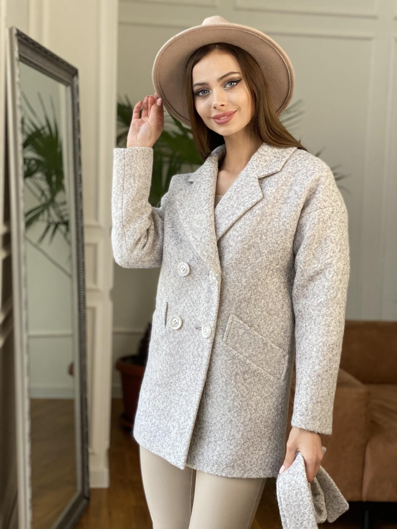 Бонд пальто из шерсти букле  10770 АРТ. 47496 Цвет: Серо-бежевый - фото 2, интернет магазин tm-modus.ru