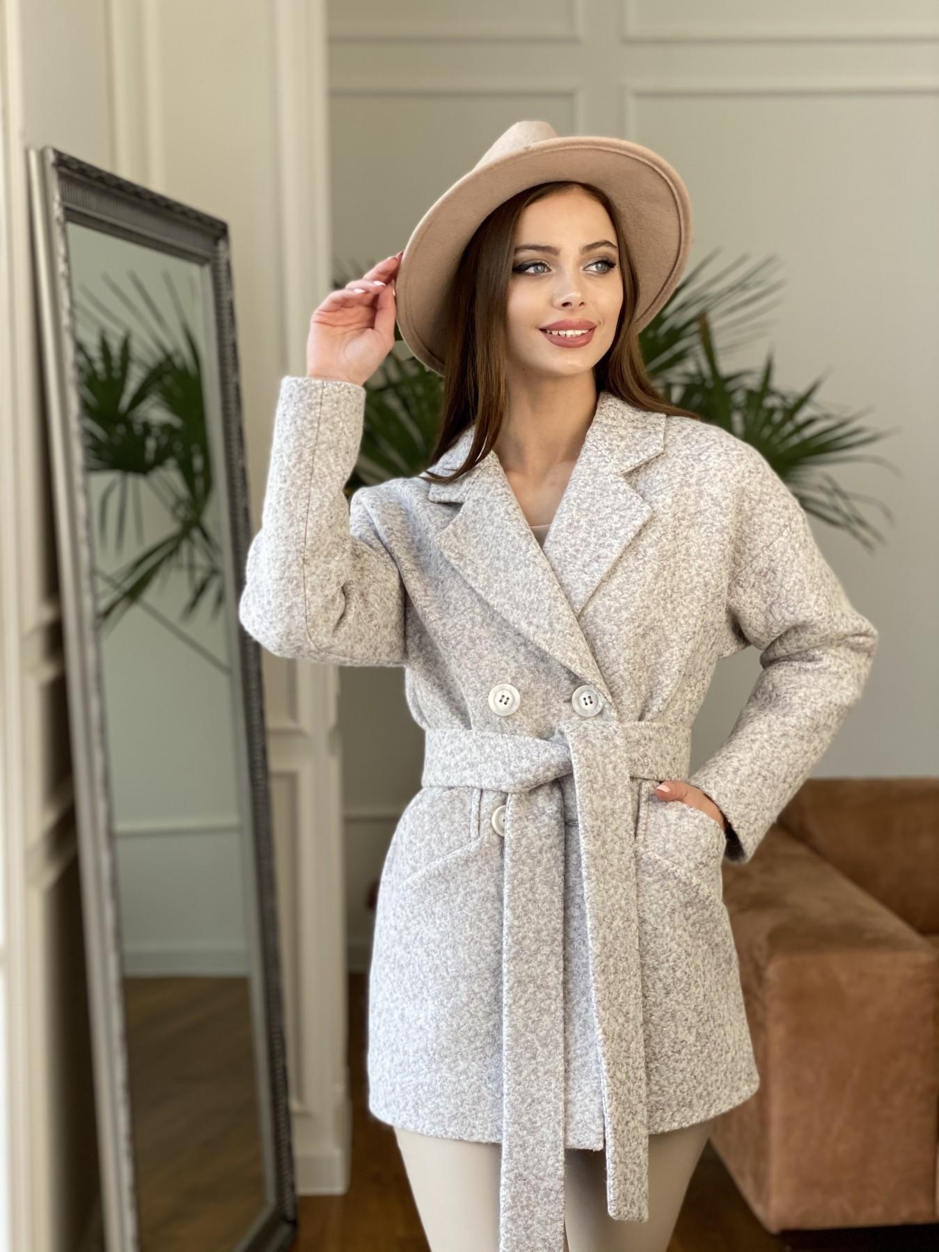 Бонд пальто из шерсти букле  10770 АРТ. 47496 Цвет: Серо-бежевый - фото 3, интернет магазин tm-modus.ru