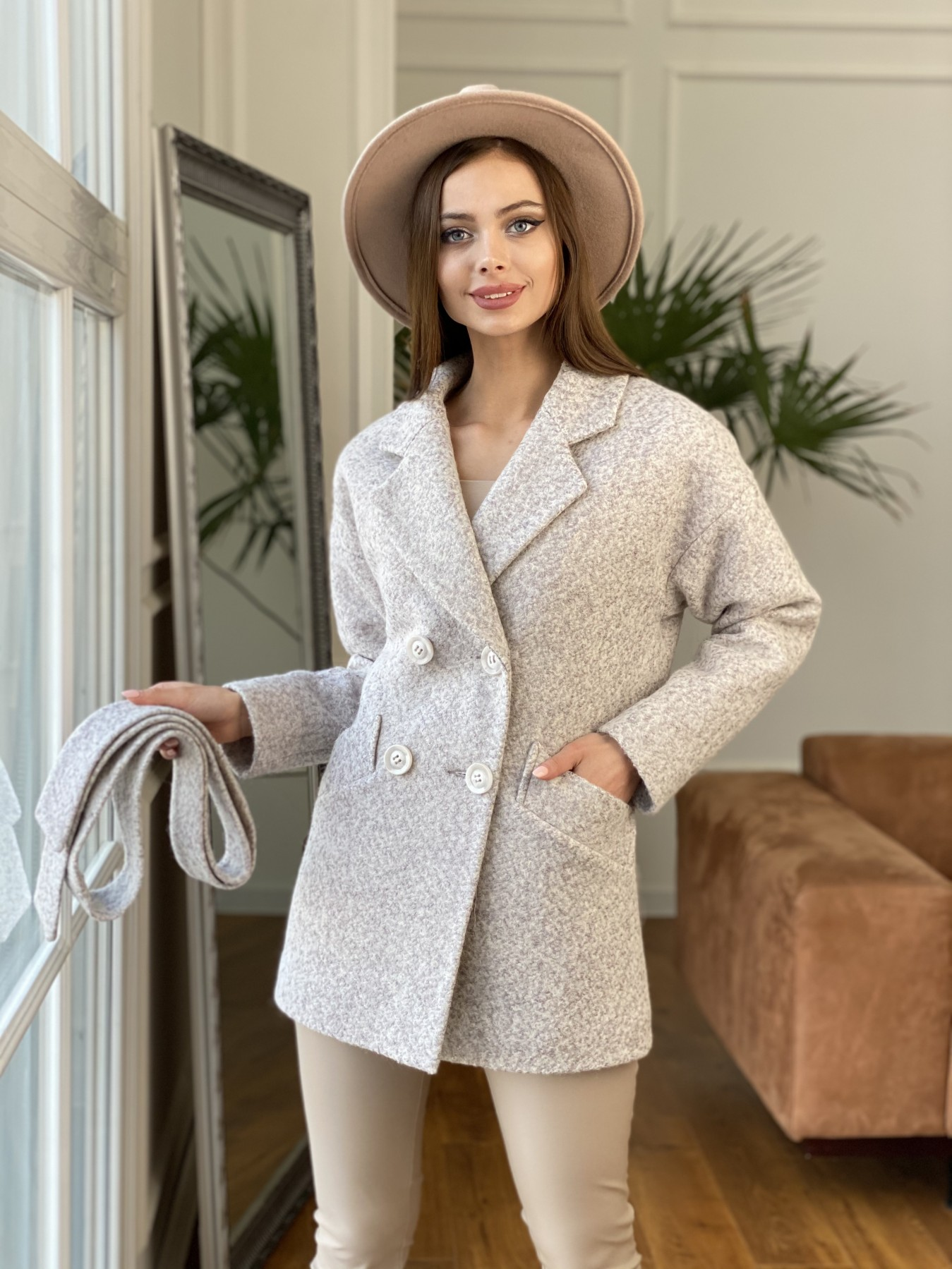Бонд пальто из шерсти букле  10770 АРТ. 47496 Цвет: Серо-бежевый - фото 4, интернет магазин tm-modus.ru