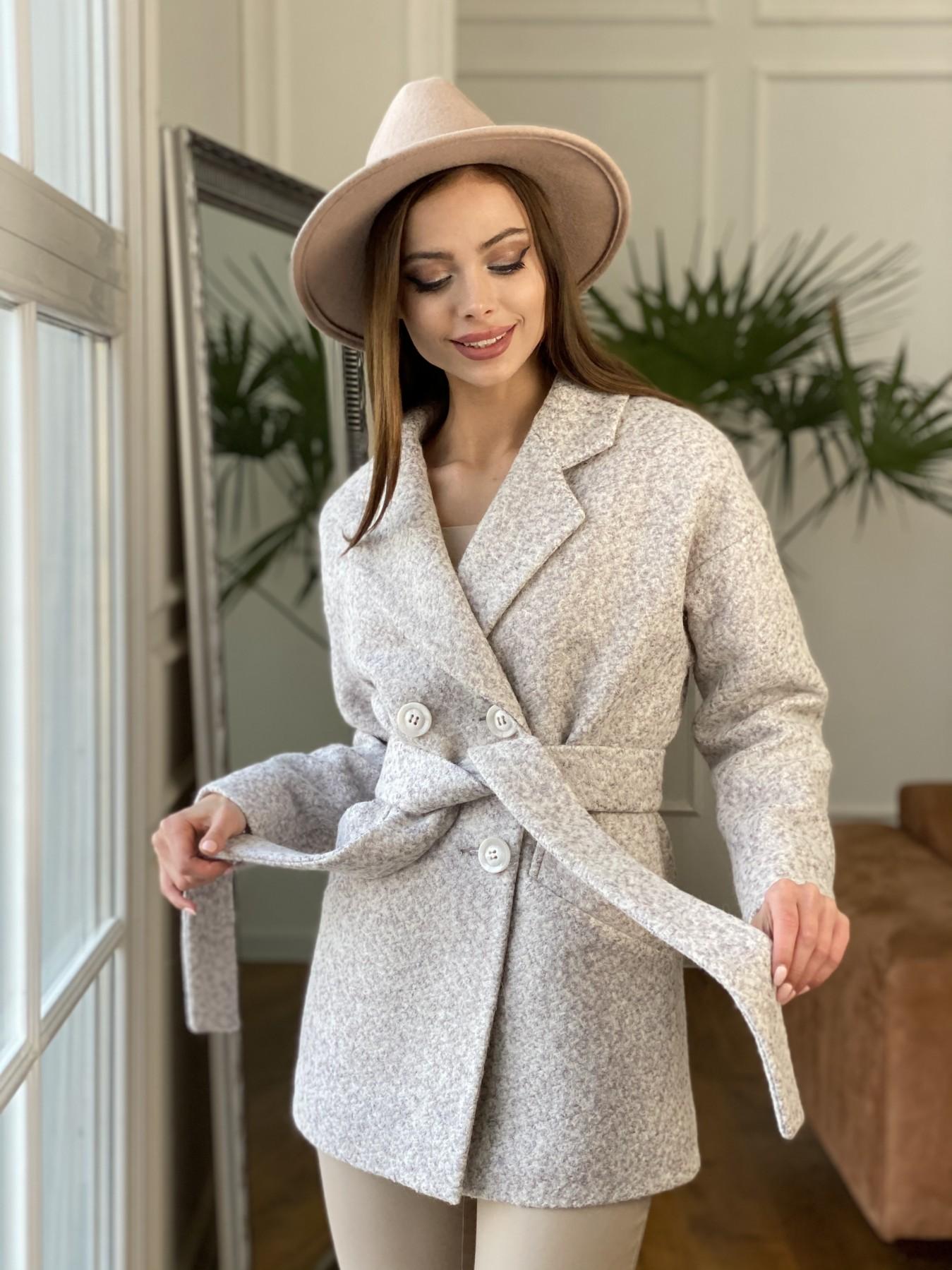 Бонд пальто из шерсти букле  10770 АРТ. 47496 Цвет: Серо-бежевый - фото 8, интернет магазин tm-modus.ru