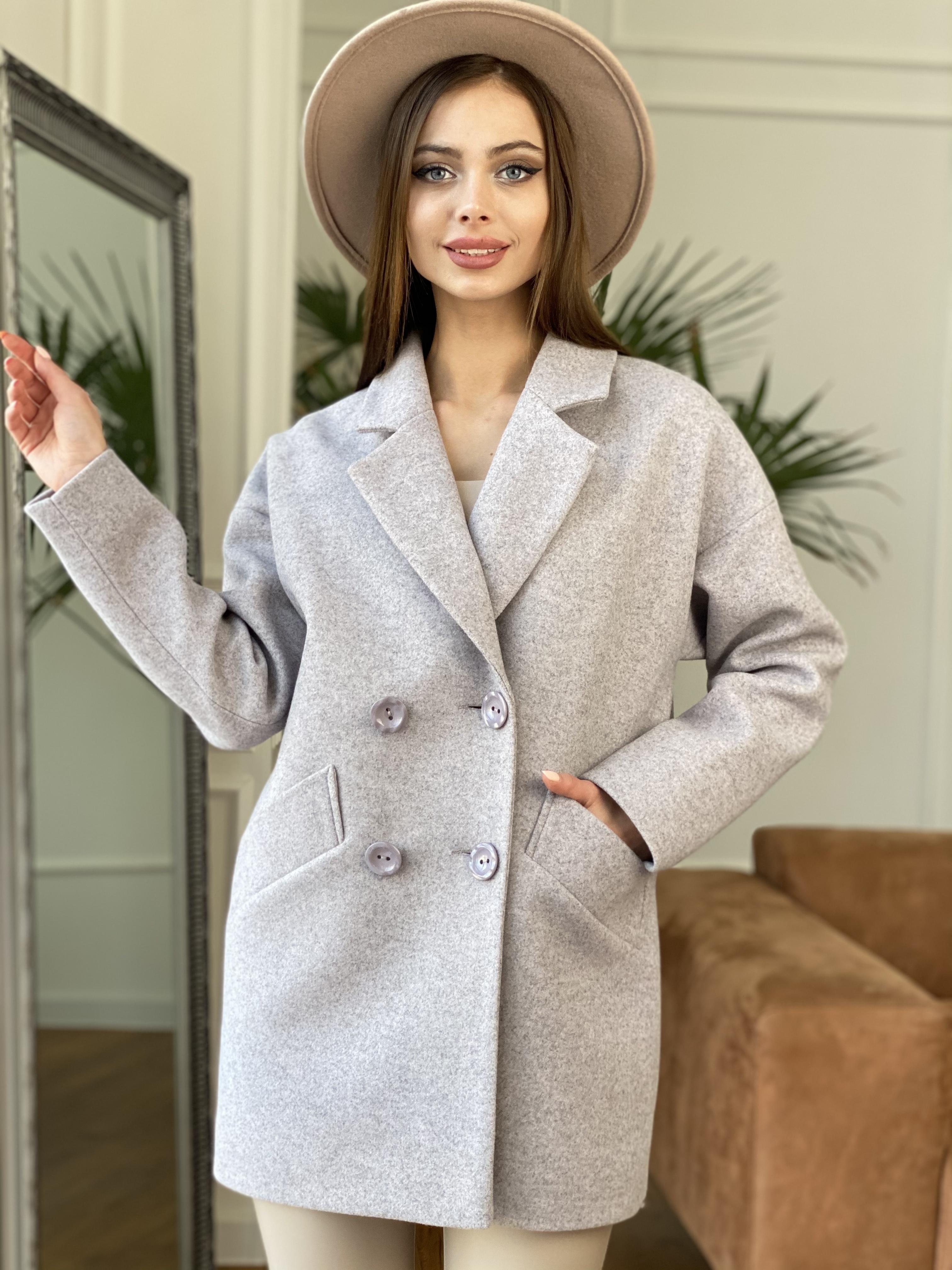 Бонд пальто  кашемировое меланж на трикотаже  10644 АРТ. 47177 Цвет: Серо-розовый - фото 2, интернет магазин tm-modus.ru